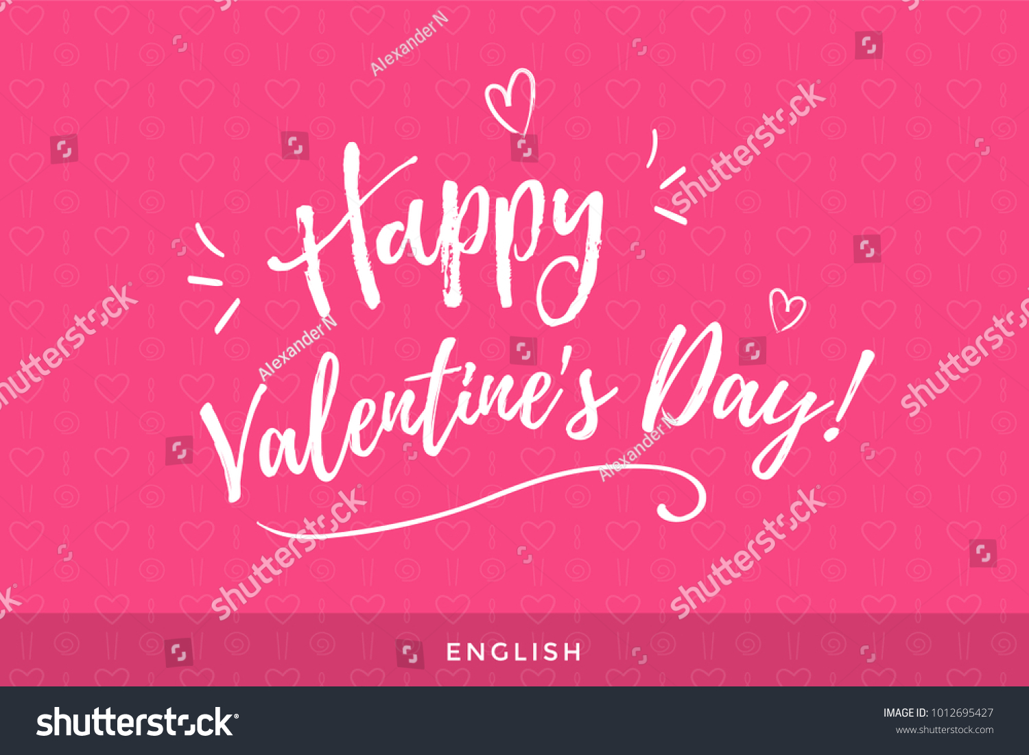 Valentines Day International Greeting Lettering English Stock Photo