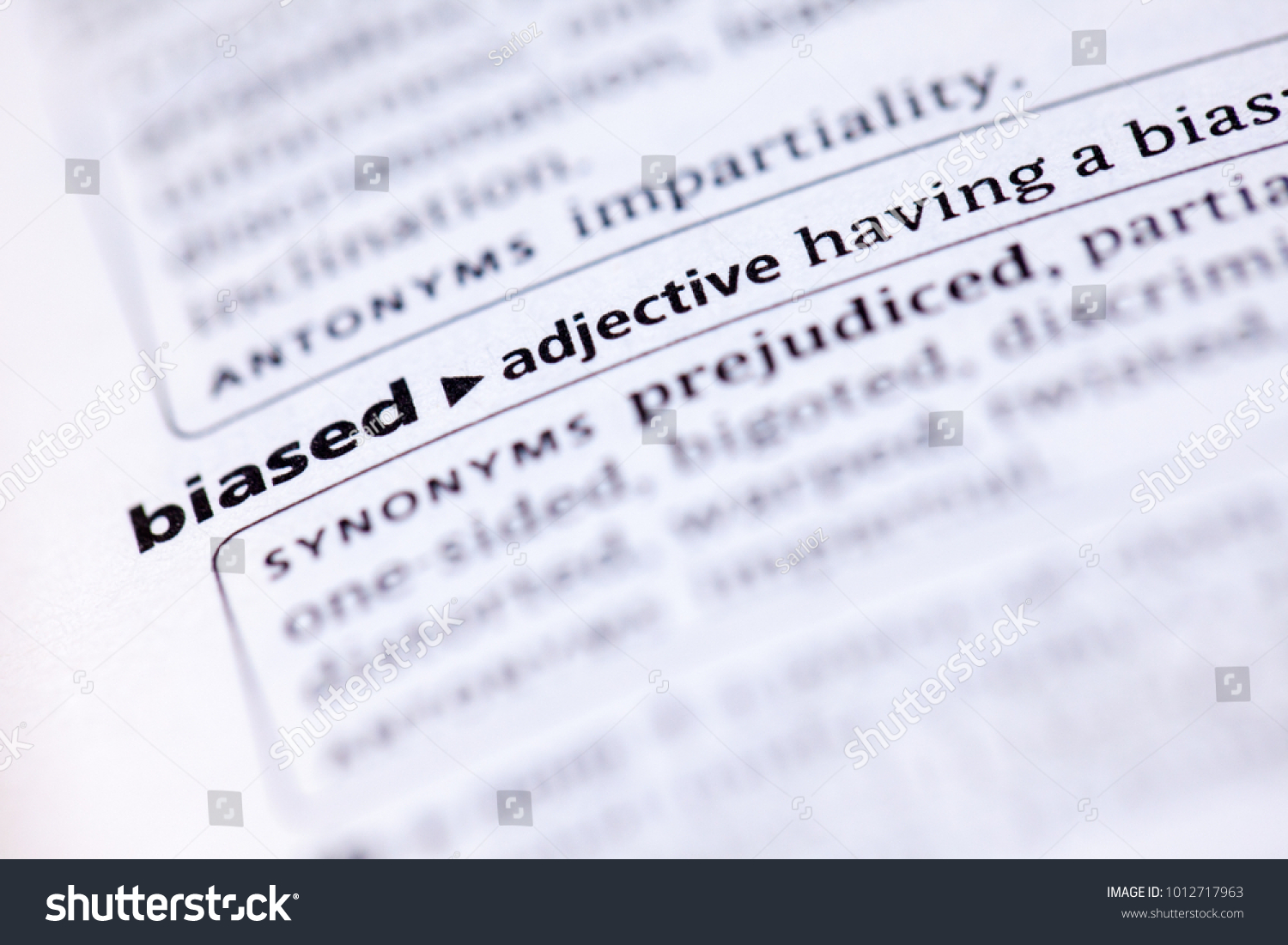 close dictionary definition biased stock photo (edit now) 1012717963
