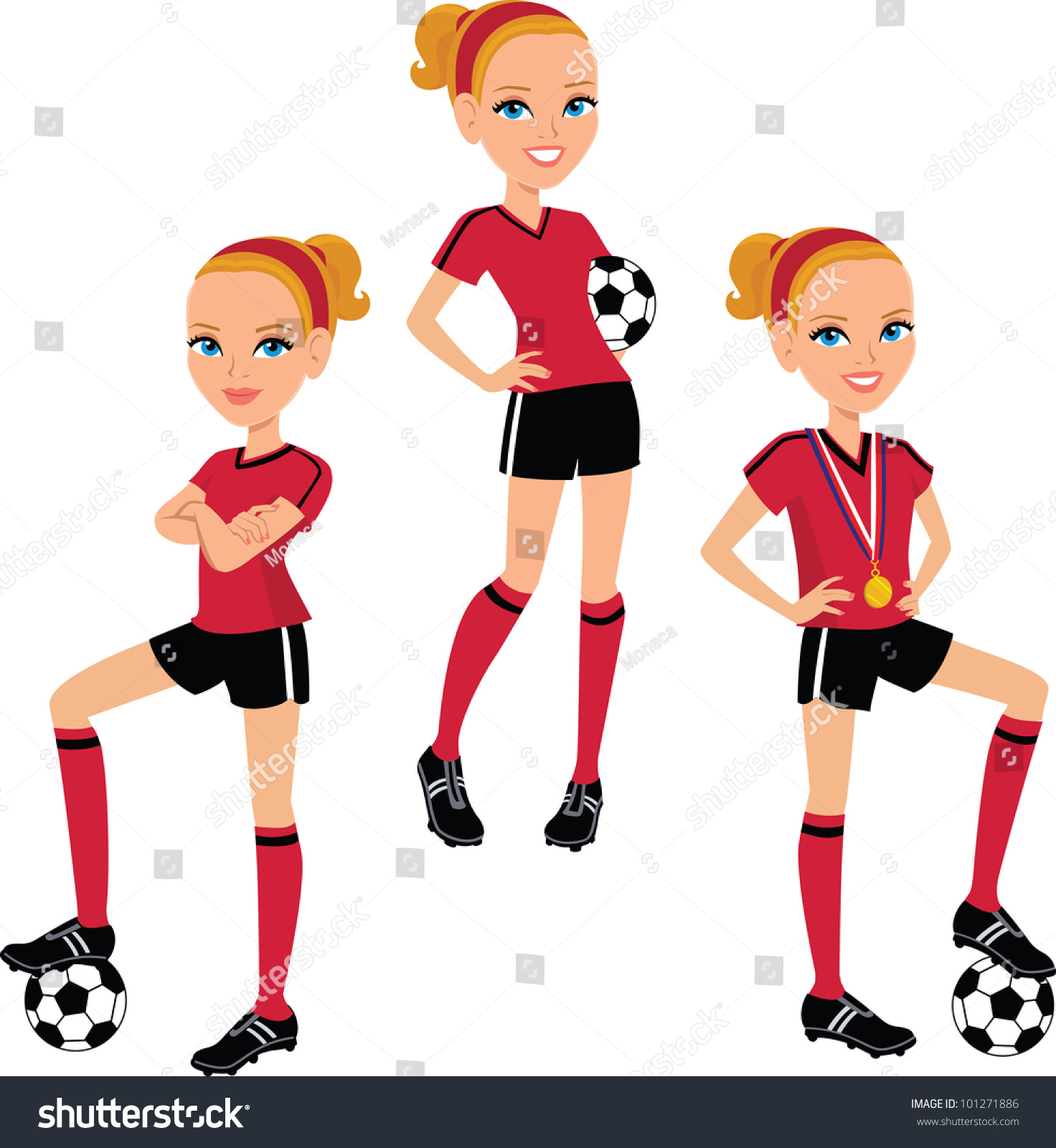 Cartoon Characters Getting High : Soccer cartoon character girl poses set stock vector