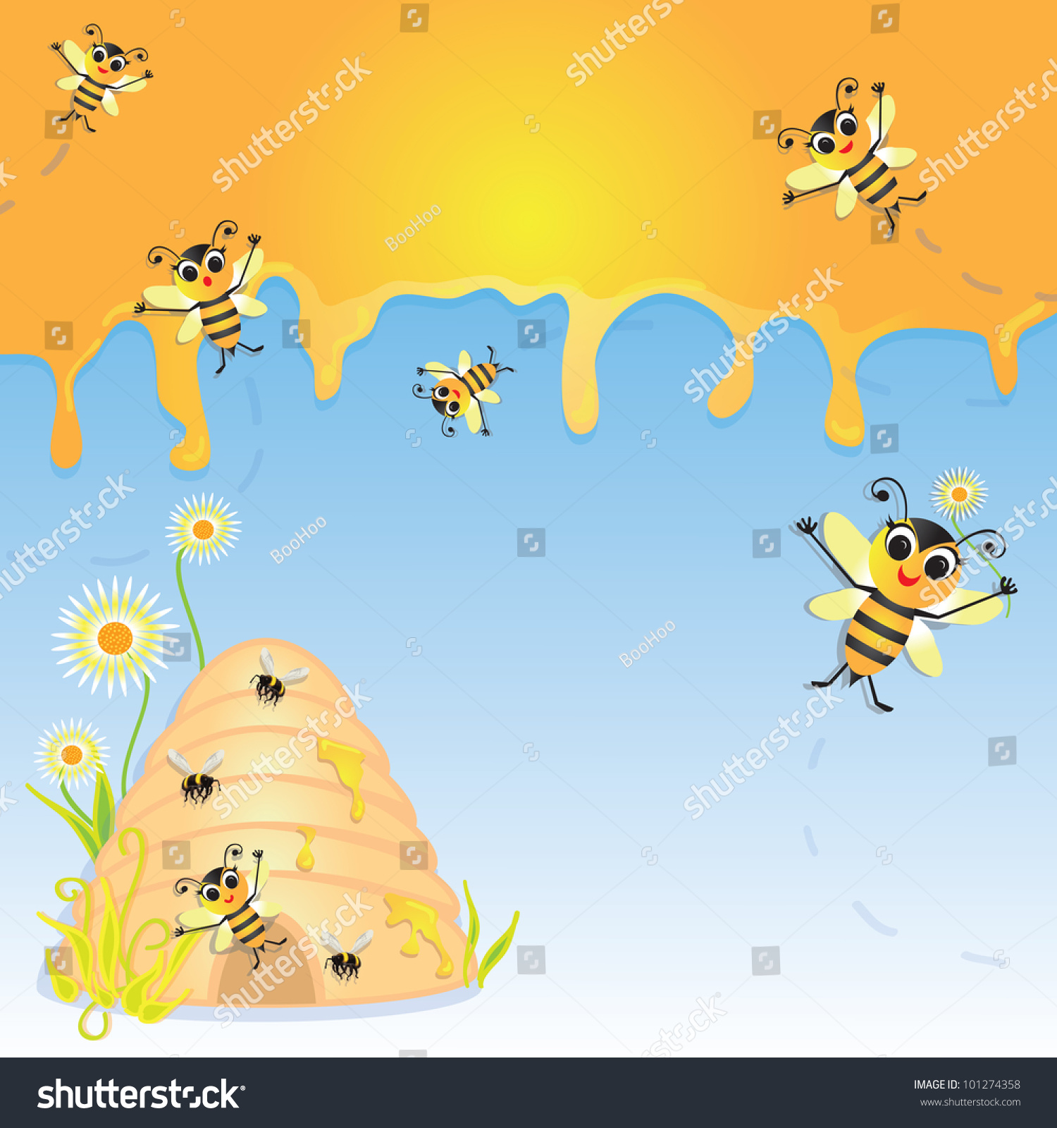 cute bumble bee party invitation dripping stock vector 101274358