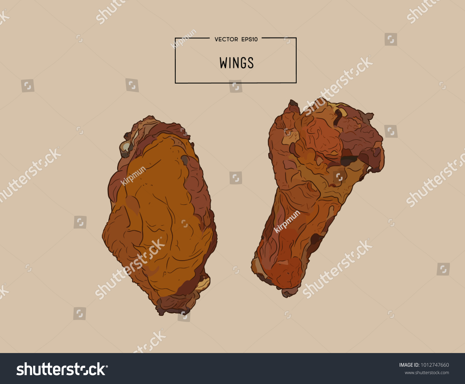 Hand Drawn Sketch Buffalo Chicken Wings Stock Vector Royalty Free Wing Diagram