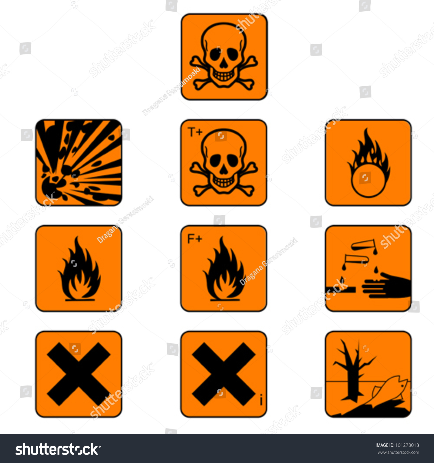 Set Flammabl Chemicals Hazard Symbols Warning Stock Vector ...