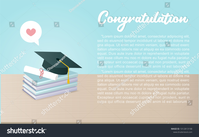 Announcement Invitation Graduation Ceremony Graduation Cap Stock ...