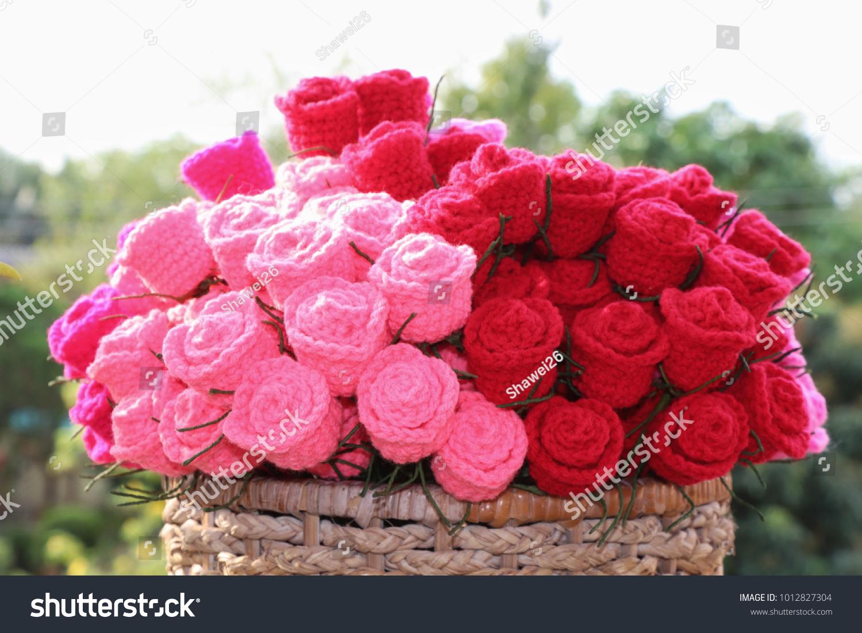 Bouquet colorful crochet roses basket blur stock photo edit now bouquet of colorful crochet roses in basket and blur background handmade crochet flowers valentines izmirmasajfo