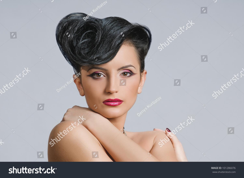 Portrait Beautiful Girl Elegant Coiffure Quiff Stock Photo Edit Now