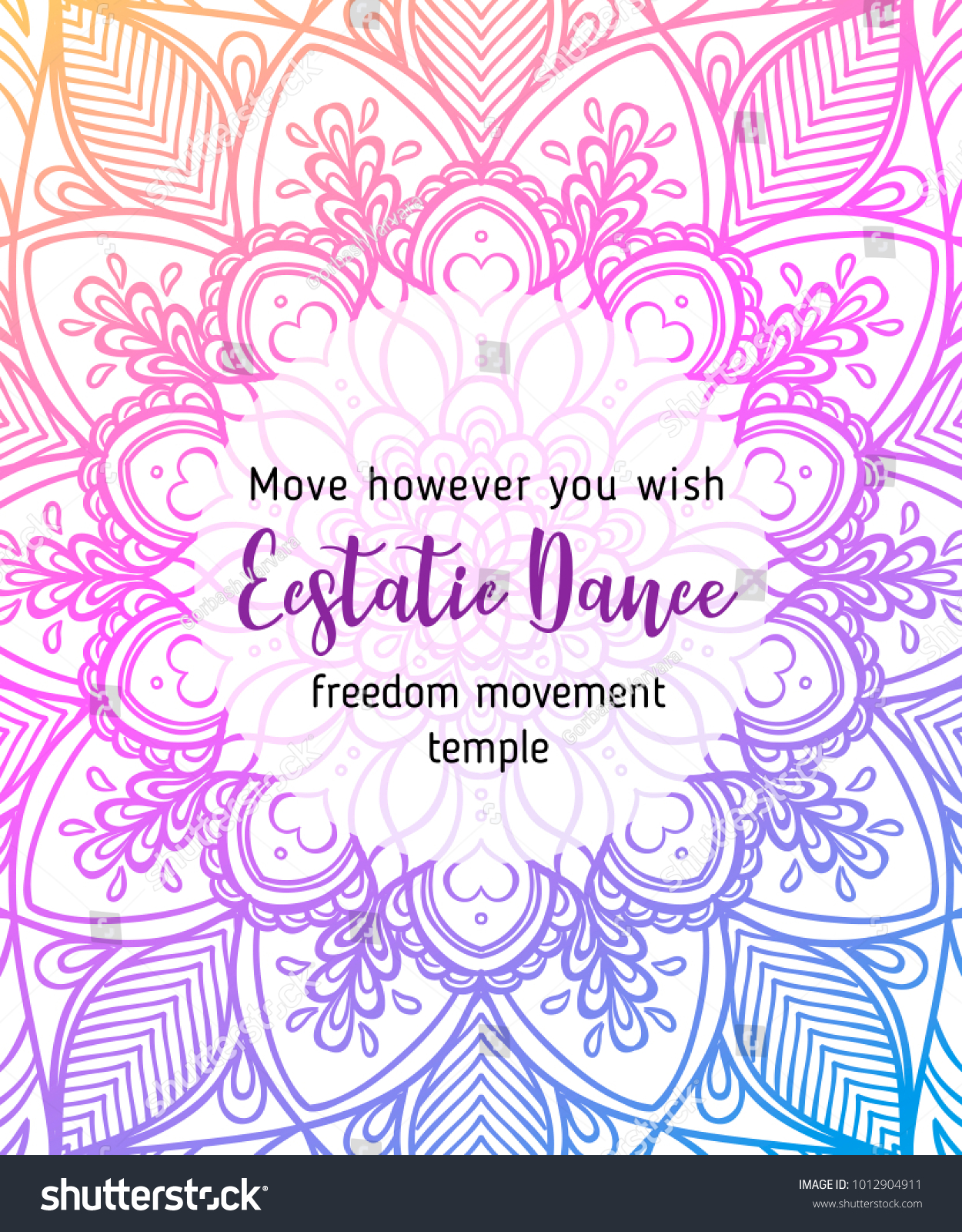 Estatic Dance Yoga Card Design Colorful Stock Photo (Photo, Vector ...