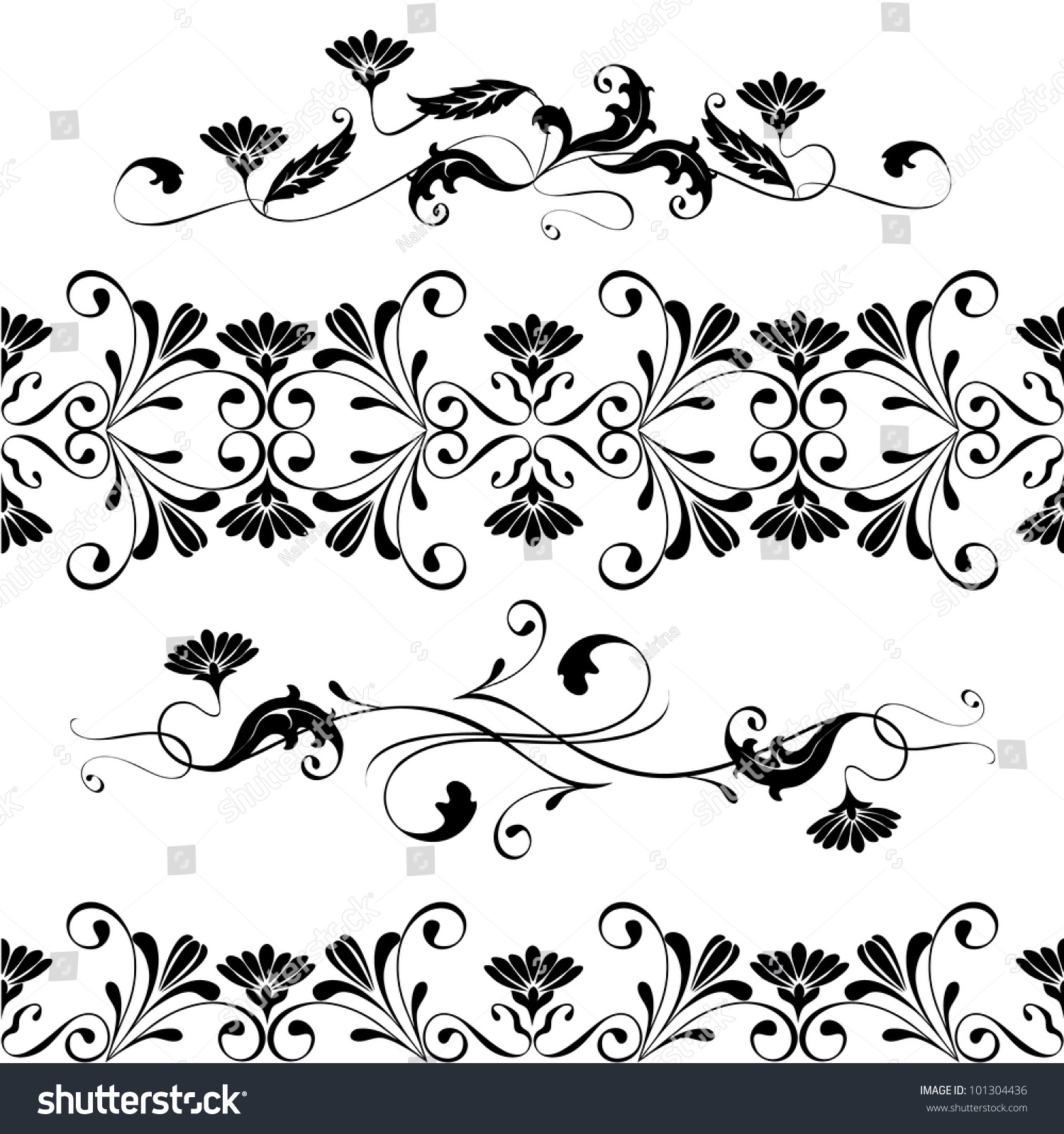 Decorative Black Flower Border Stock Image: Vector Set Swirling Decorative Floral Elements Stock