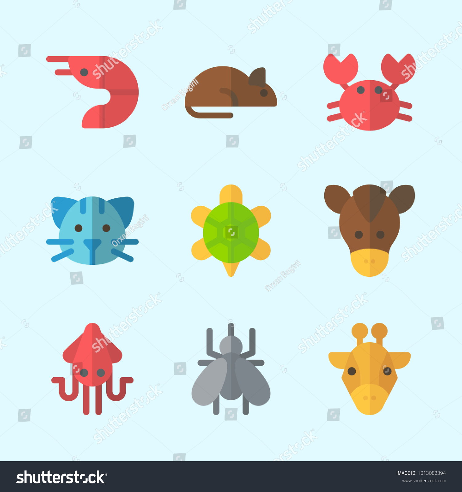 Icons about animals prawn mosquito rat stock vector 1013082394 icons about animals with prawn mosquito rat crab turtle and squid biocorpaavc Gallery