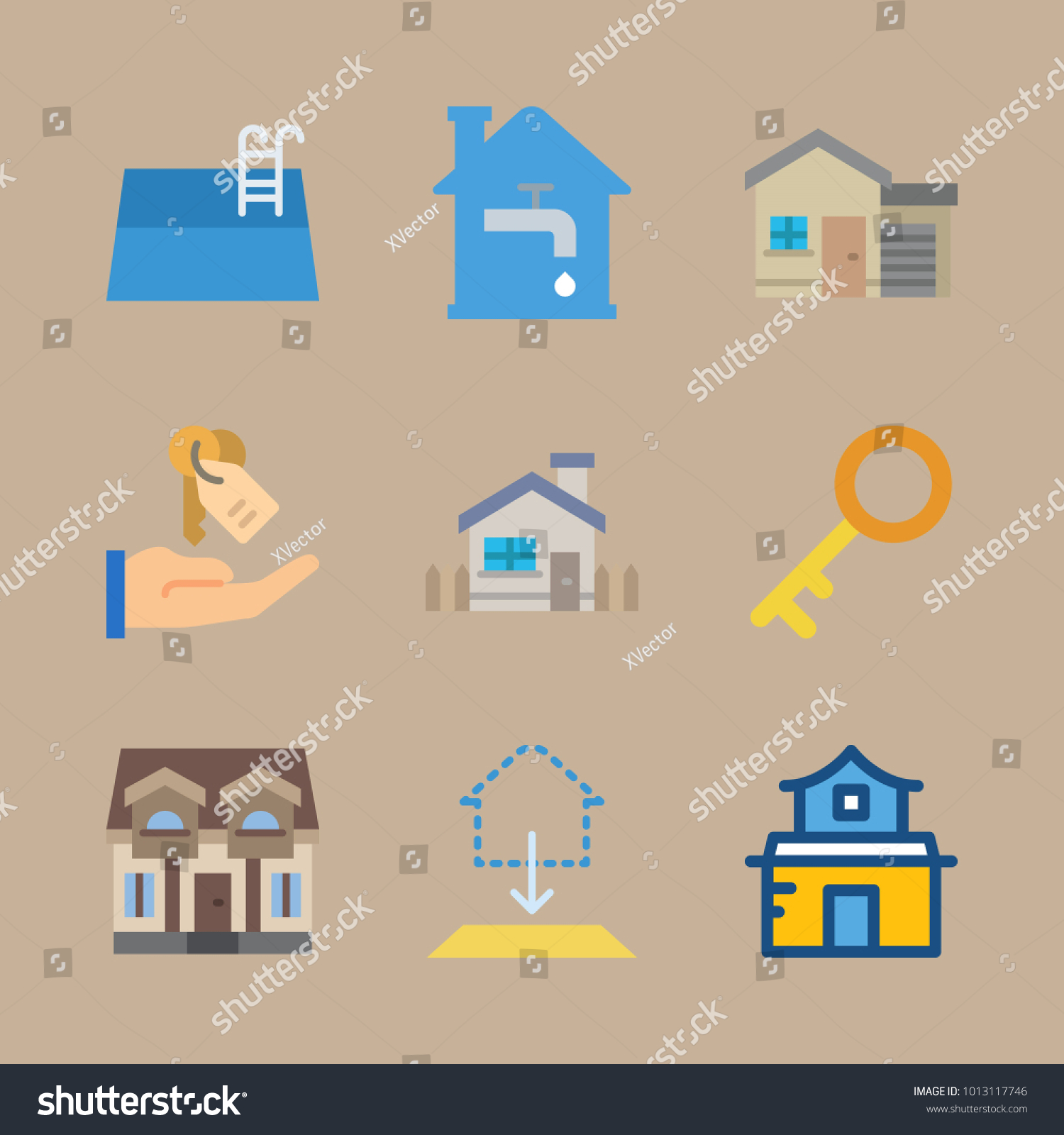 Icon real estate pool villa blueprint stock vector 1013117746 icon real estate with pool villa blueprint duplex and water pipe house malvernweather Images