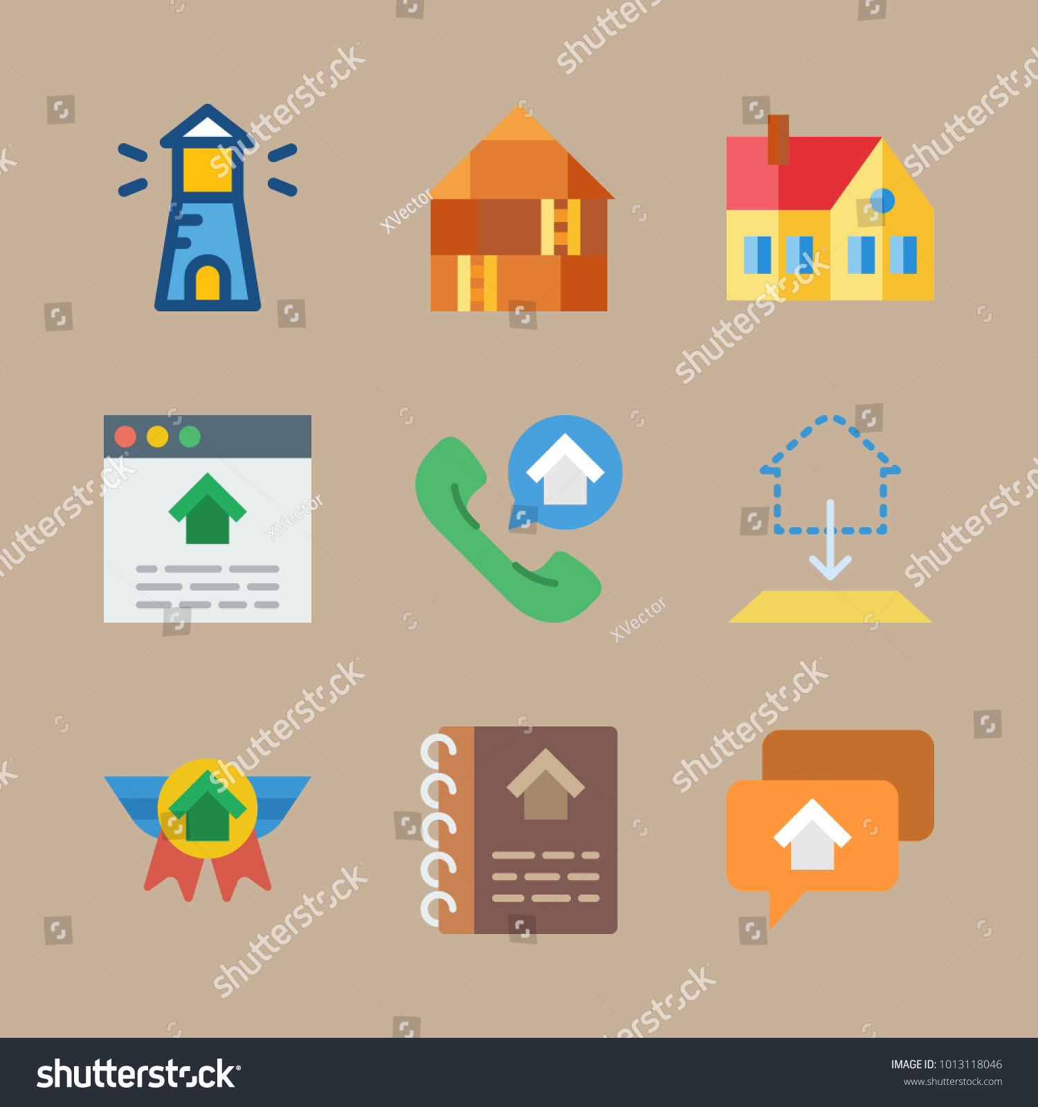 Icon real estate blueprint house lighthouse stock vector 2018 icon real estate with blueprint house lighthouse home and house catalogue malvernweather Images