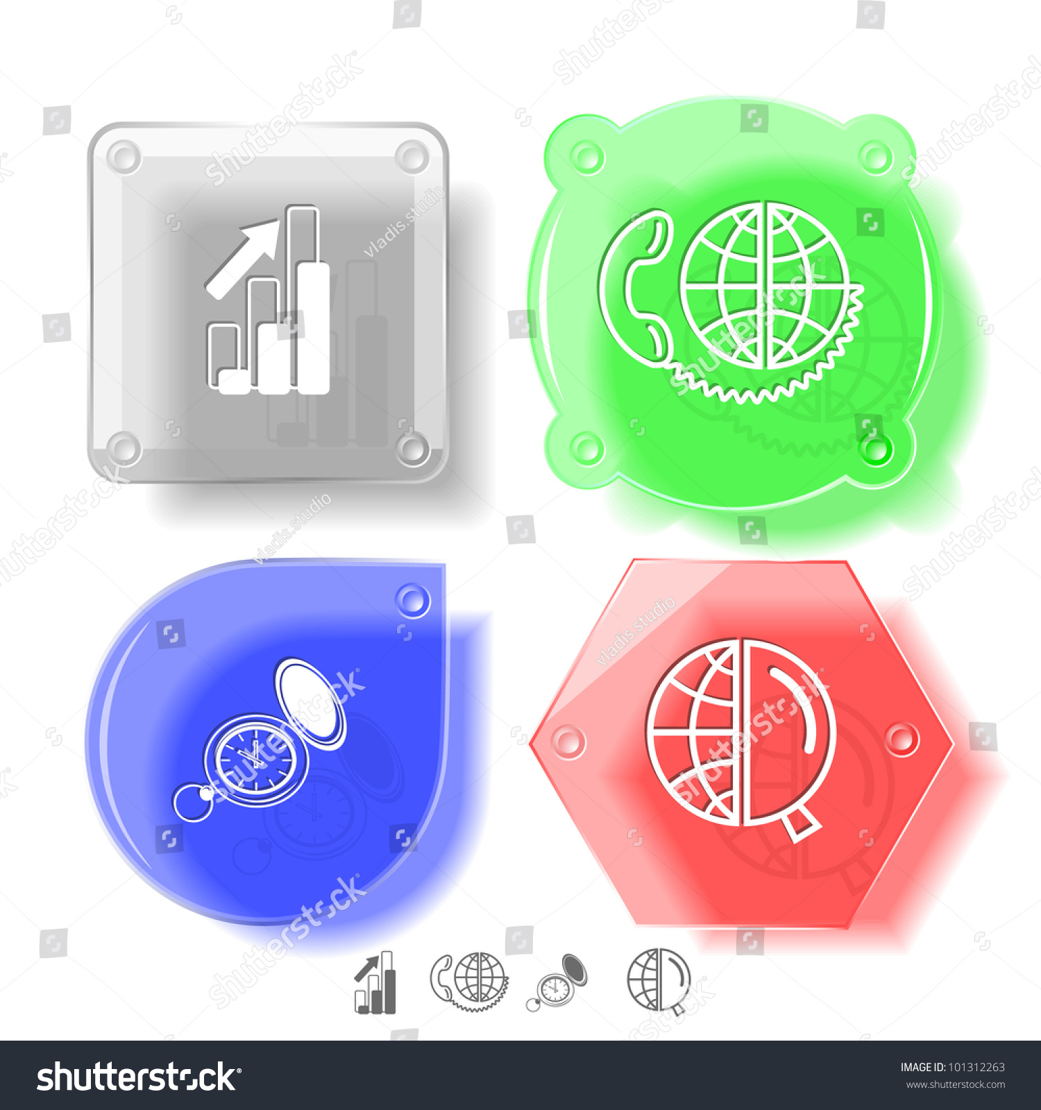 Business Icon Set  Global Communication  Watch  Globe And Magnifying Glass  Diagram  Glass