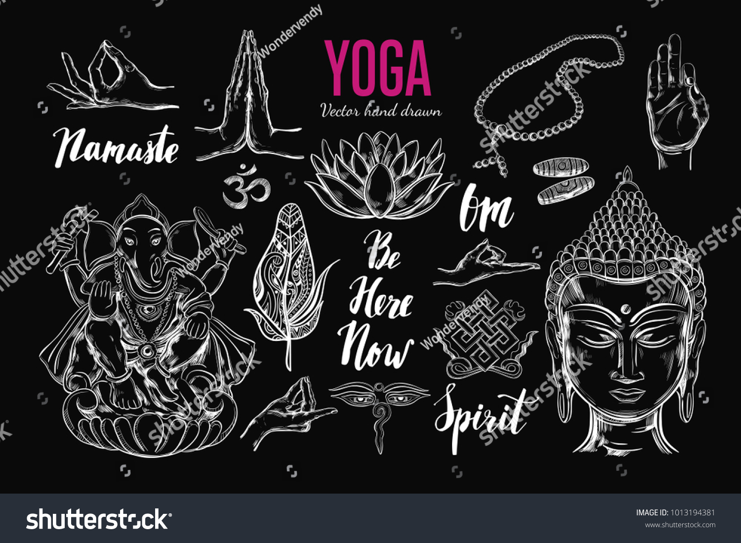 Yoga Set Vector Isolated Hand Drawn Stock Vector Royalty Free