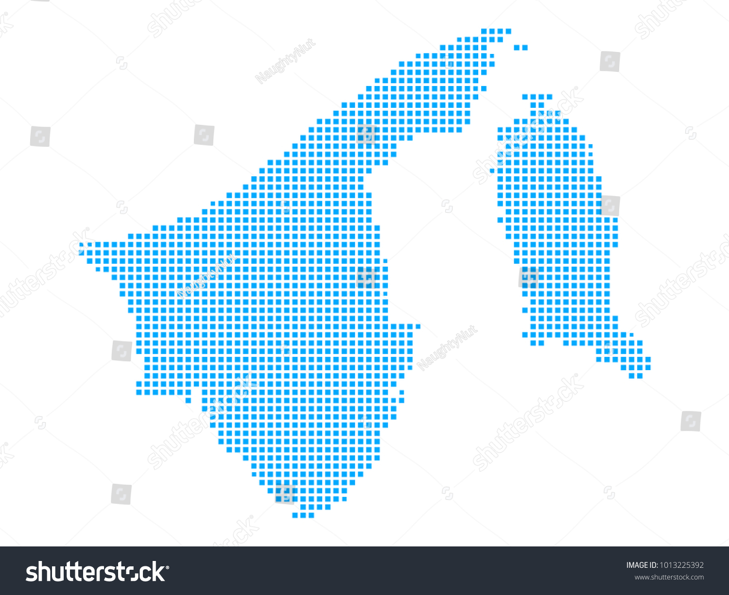 Pixel Dot Map On White Background Stock Vector 2018 1013225392