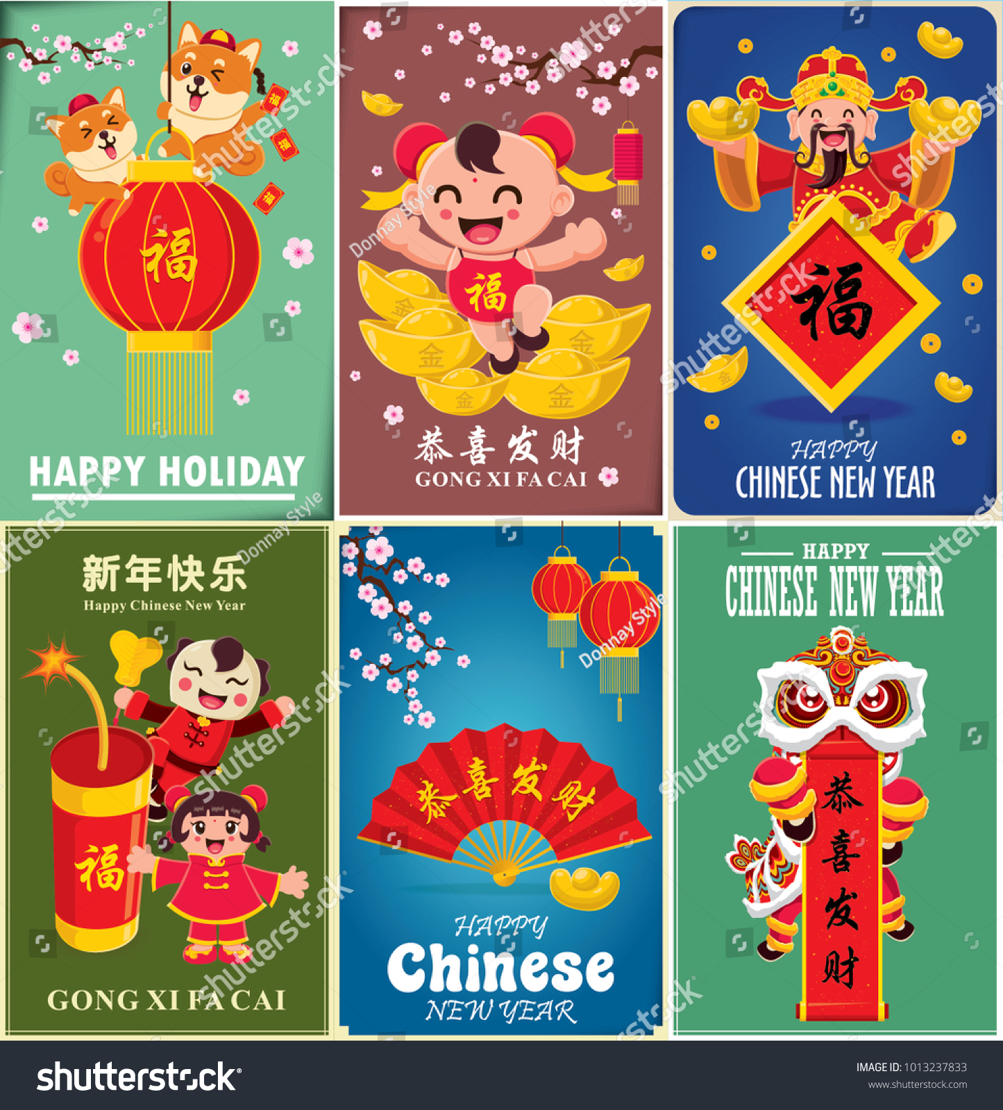 vintage chinese new year poster design with god of wealth lion dance kids and