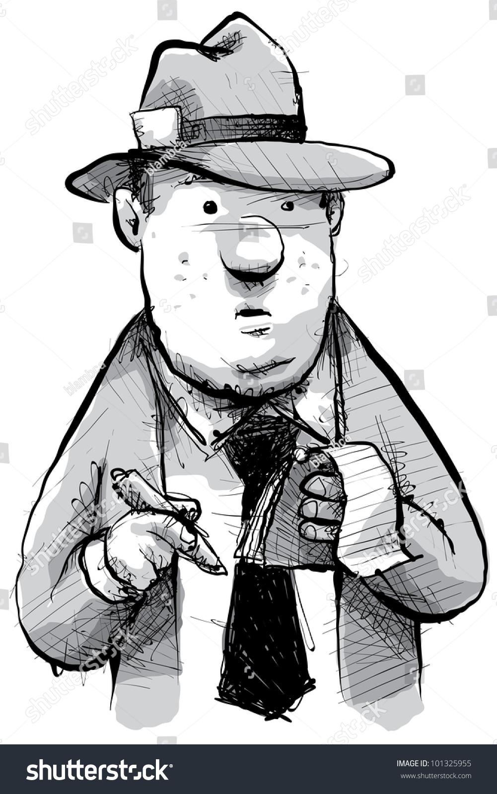 A Cartoon Of Retro Newspaper Reporter