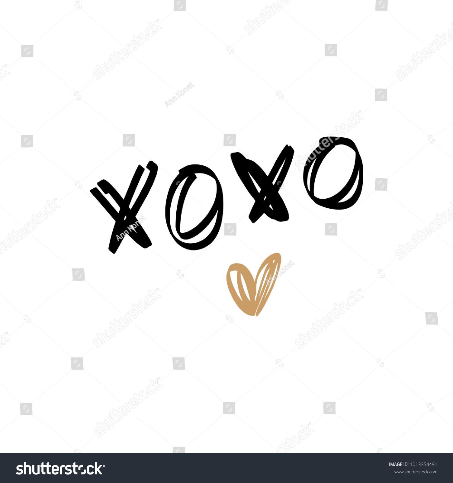 Golden Heart Hugs And Kisses Sign Letters Decor Element Sticker
