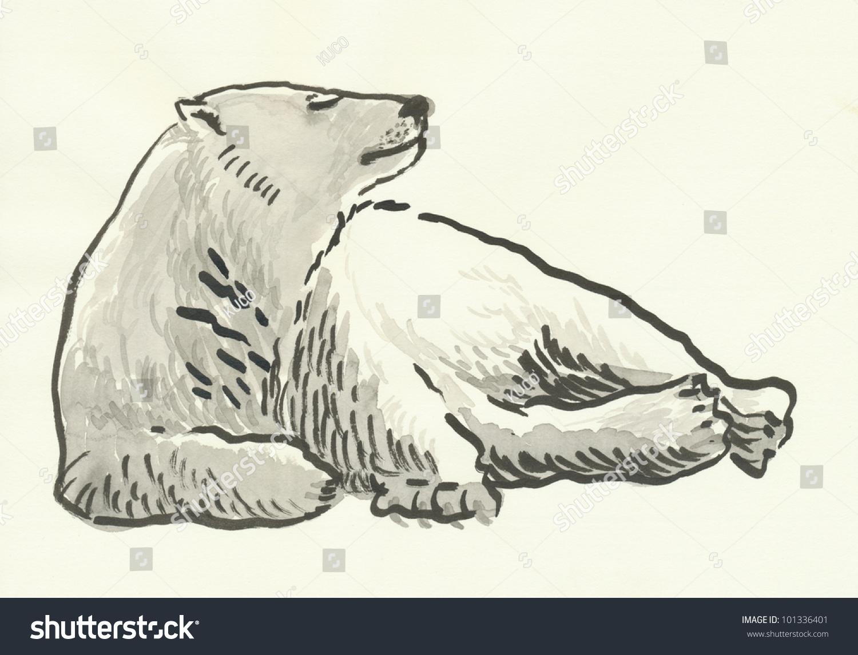 polar bear black ink drawing stock illustration 101336401