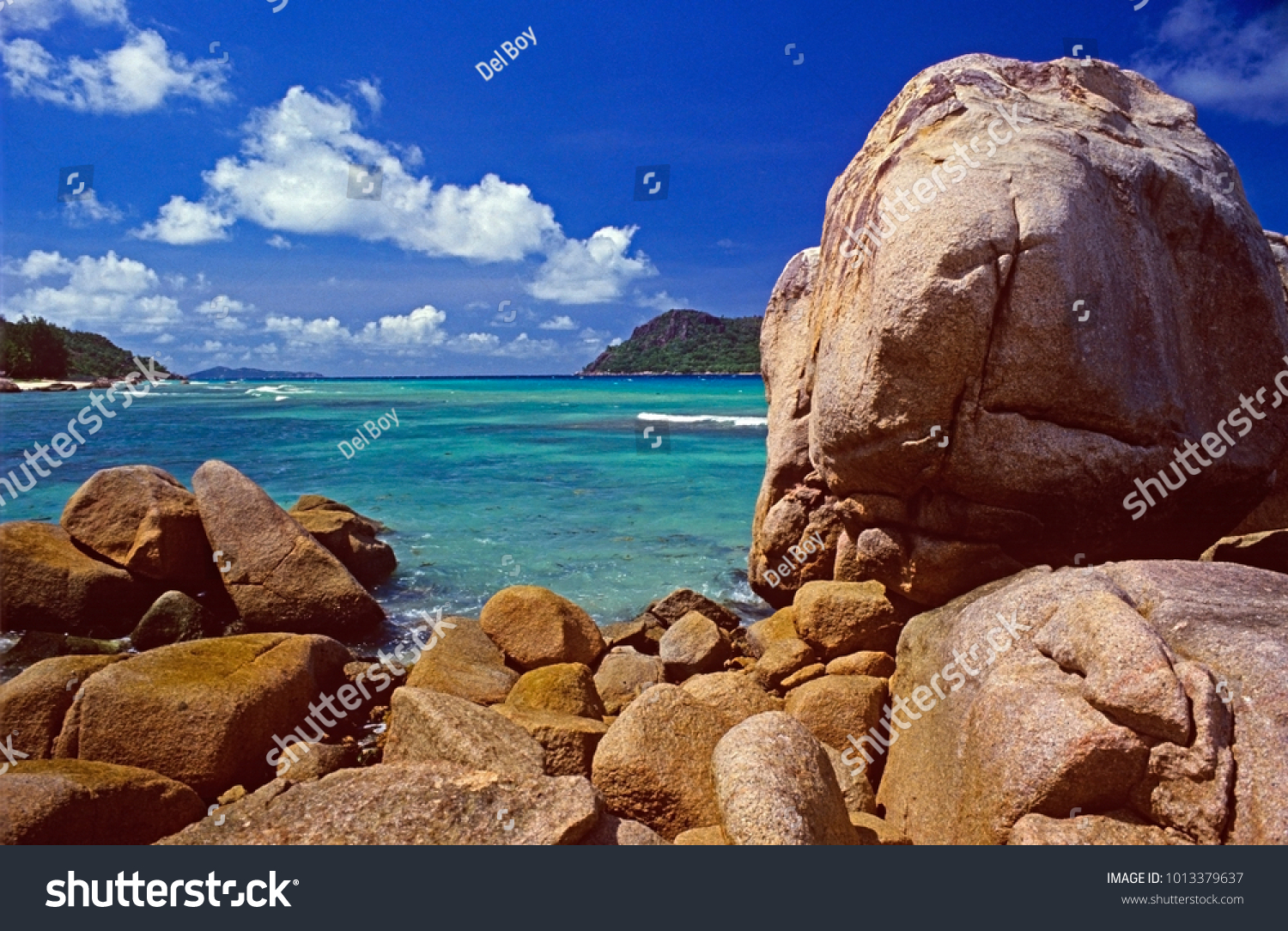 lonely beach seychelles island east africa stock photo edit now