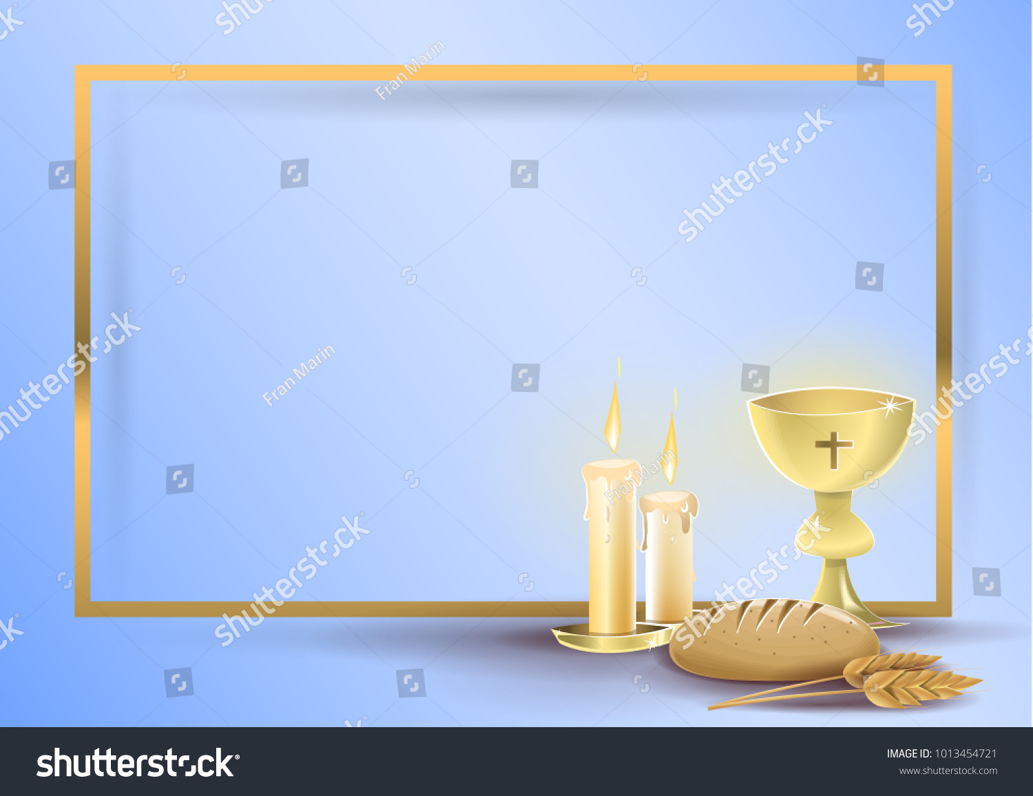 First communion religious invitation card religious stock photo first communion religious invitation card religious elements of communion and baptism on a blue stopboris Image collections