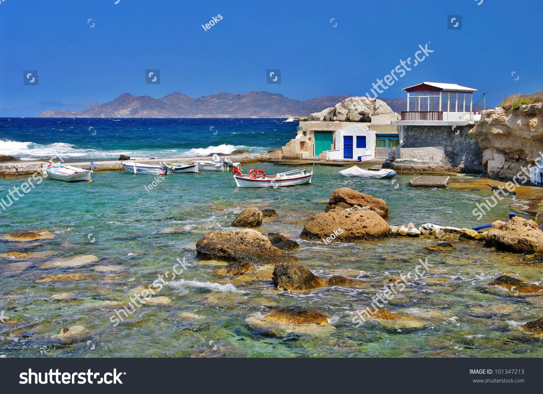 Milos Island - Cyclades, Traditional Fishing Village Stock ...
