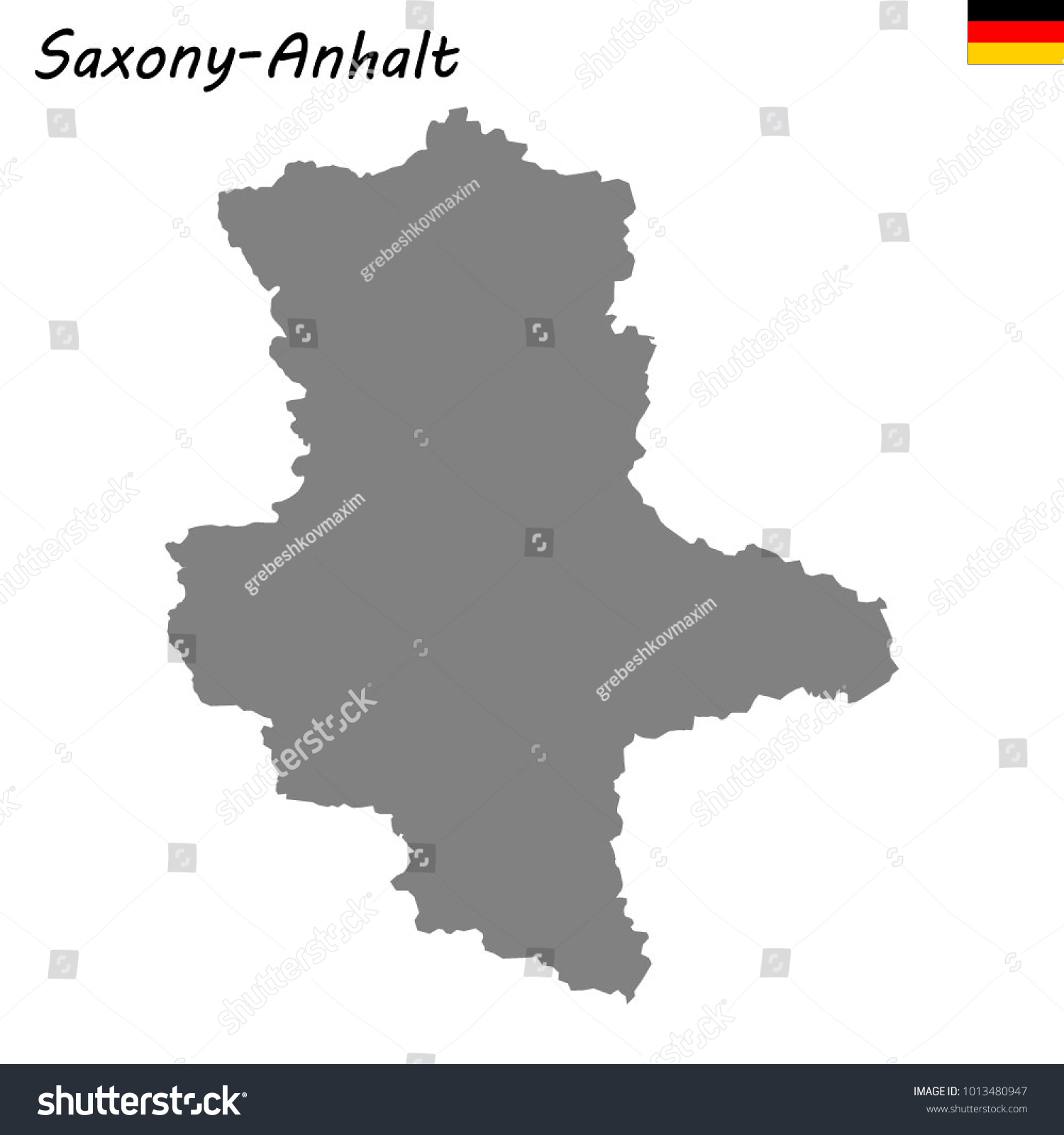 High Quality Map Saxonyanhalt State Germany Stock Vector 1013480947