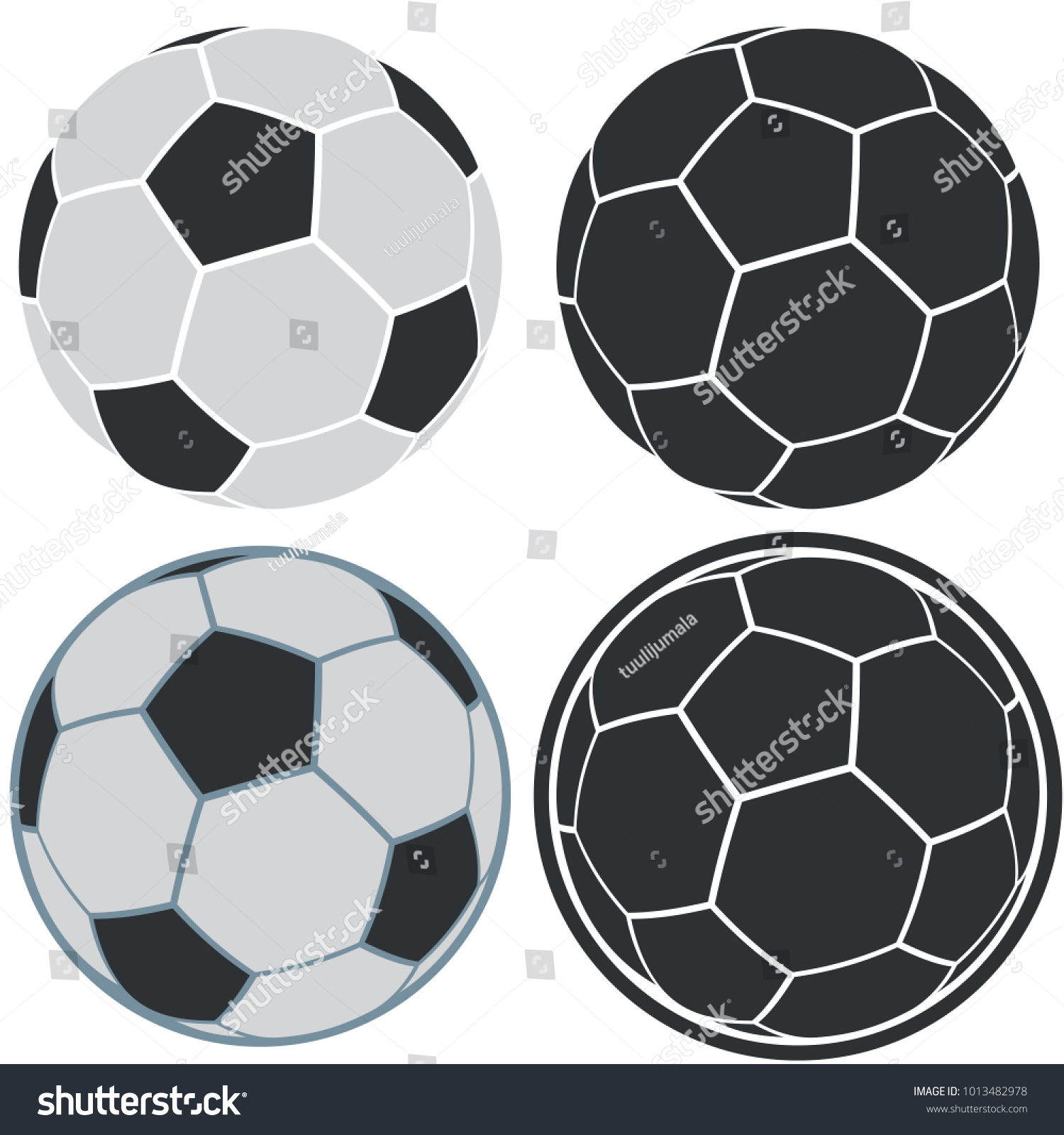 Soccer Ball Simple Icons On White Stock Vector Royalty Free