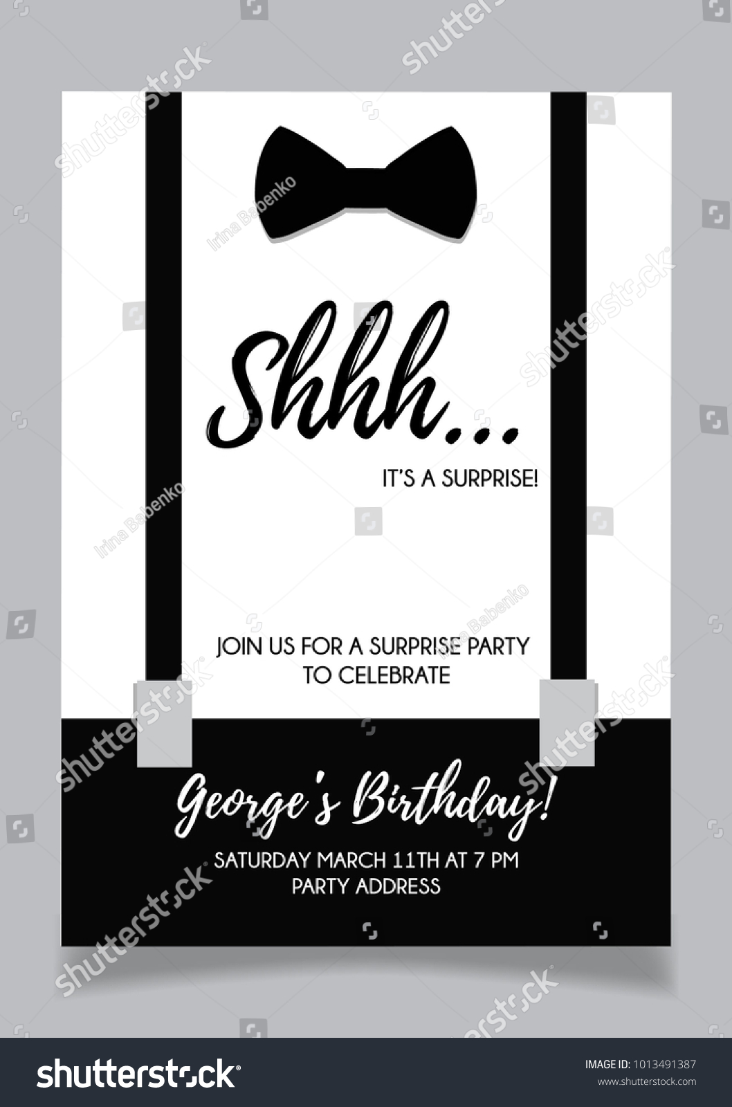 Shh Surprise Party Invitation Card Vector Stock Vector (Royalty Free ...