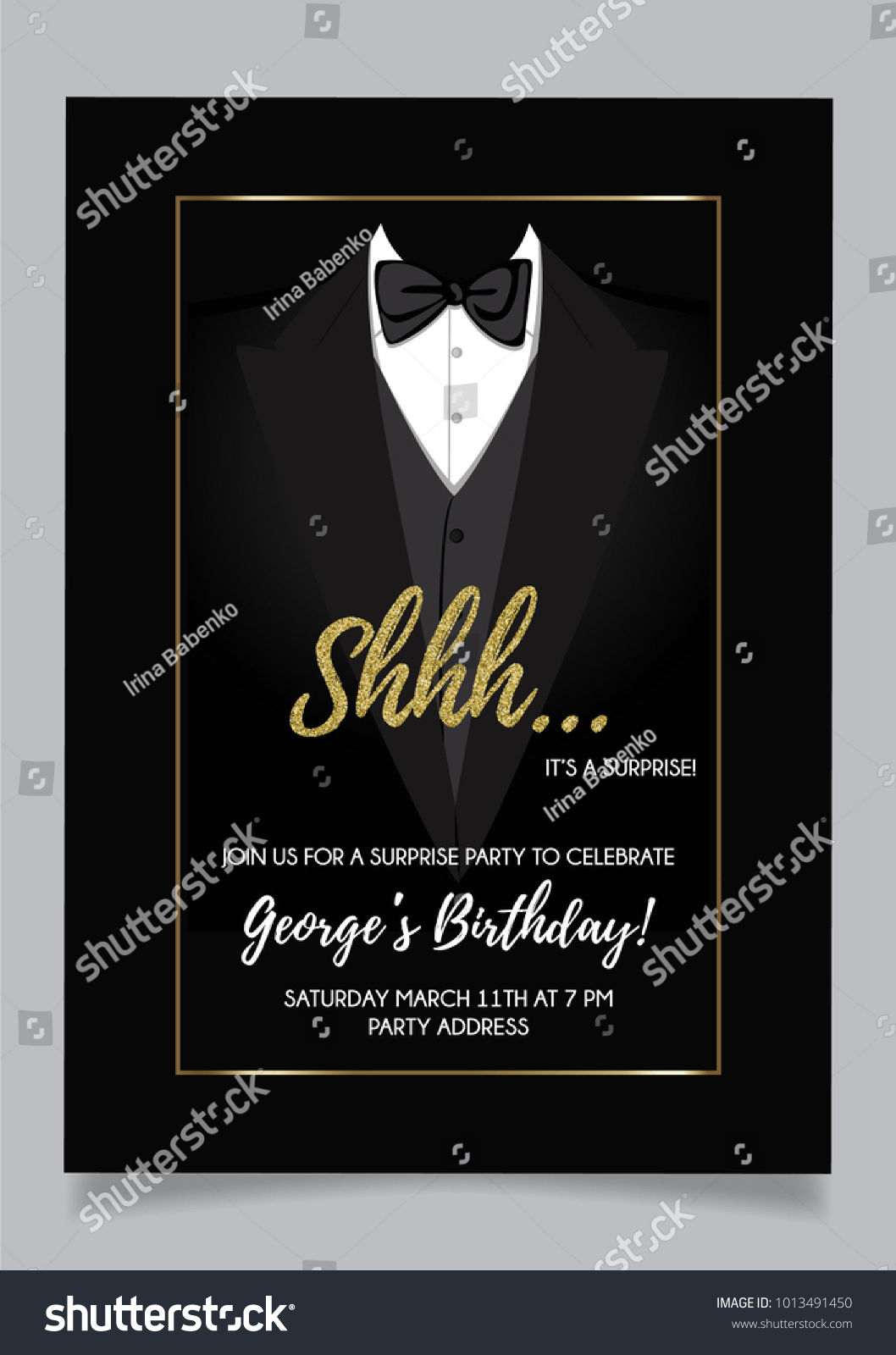 shh surprise party invitation card vector のベクター画像素材