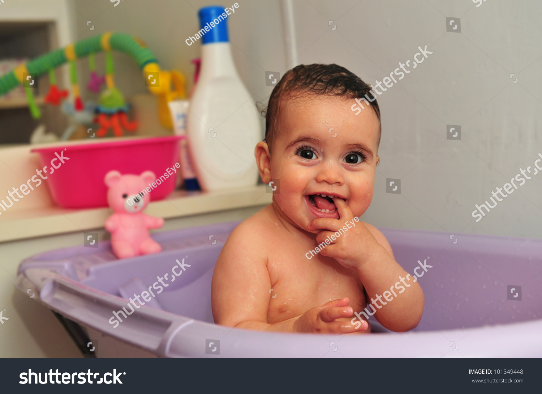 Cute Baby Bath Purple Bathtub Concept Stock Photo (Edit Now ...