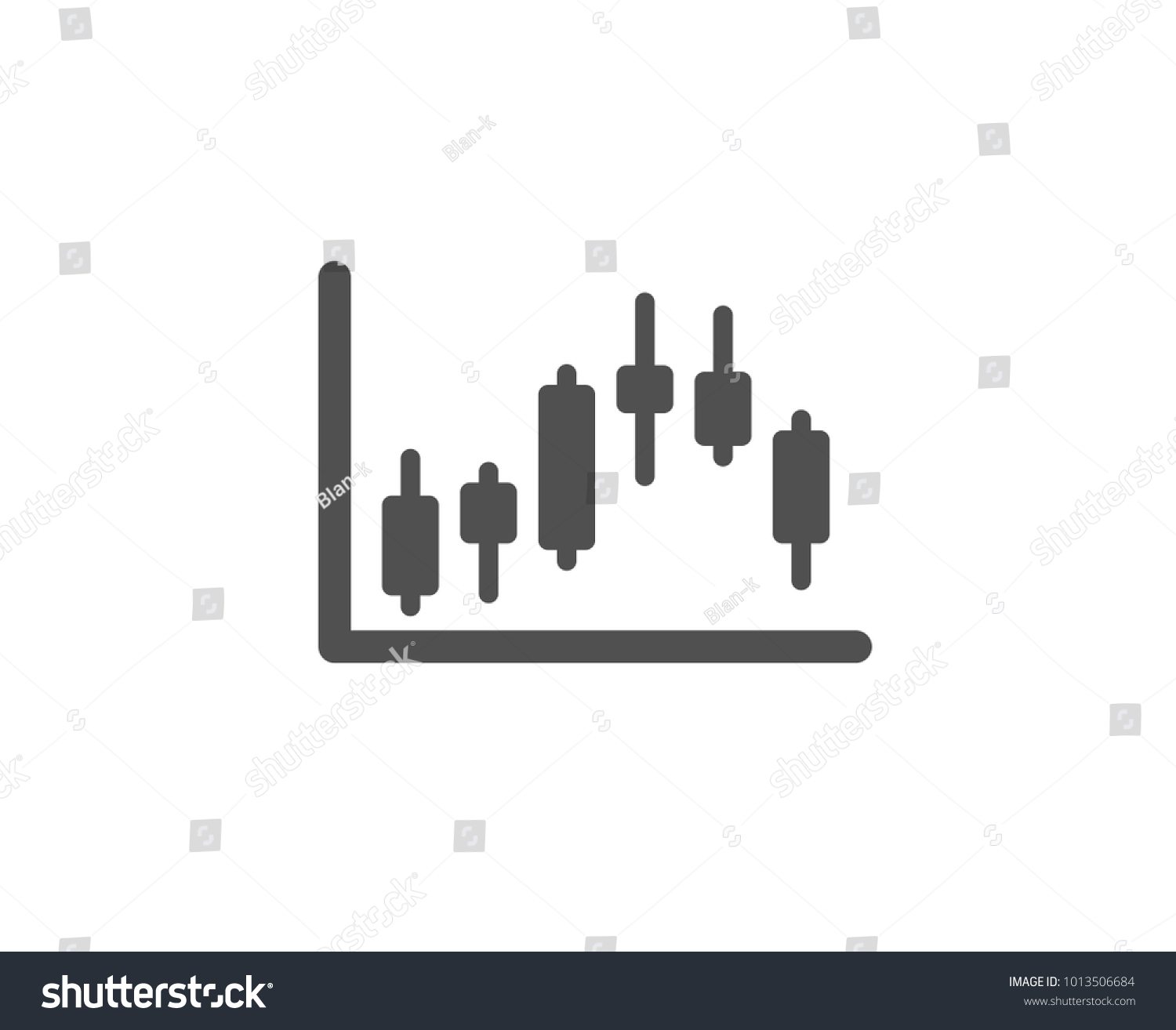 Candlestick Chart Simple Icon Financial Graph Stock Vector