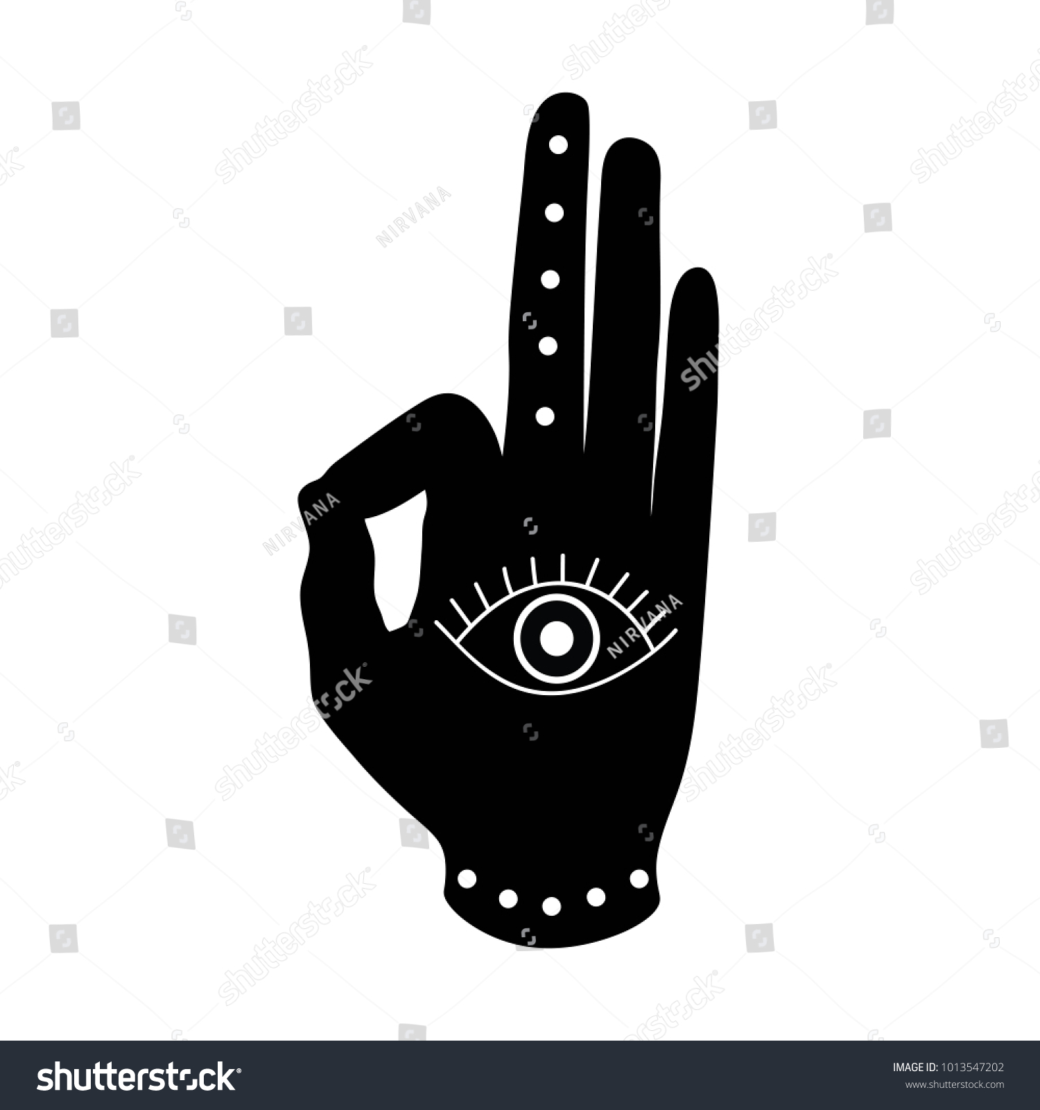 Black hand eye mudra buddhism hinduism stock vector 1013547202 black hand with eye mudra buddhism hinduism symbol vector biocorpaavc Images