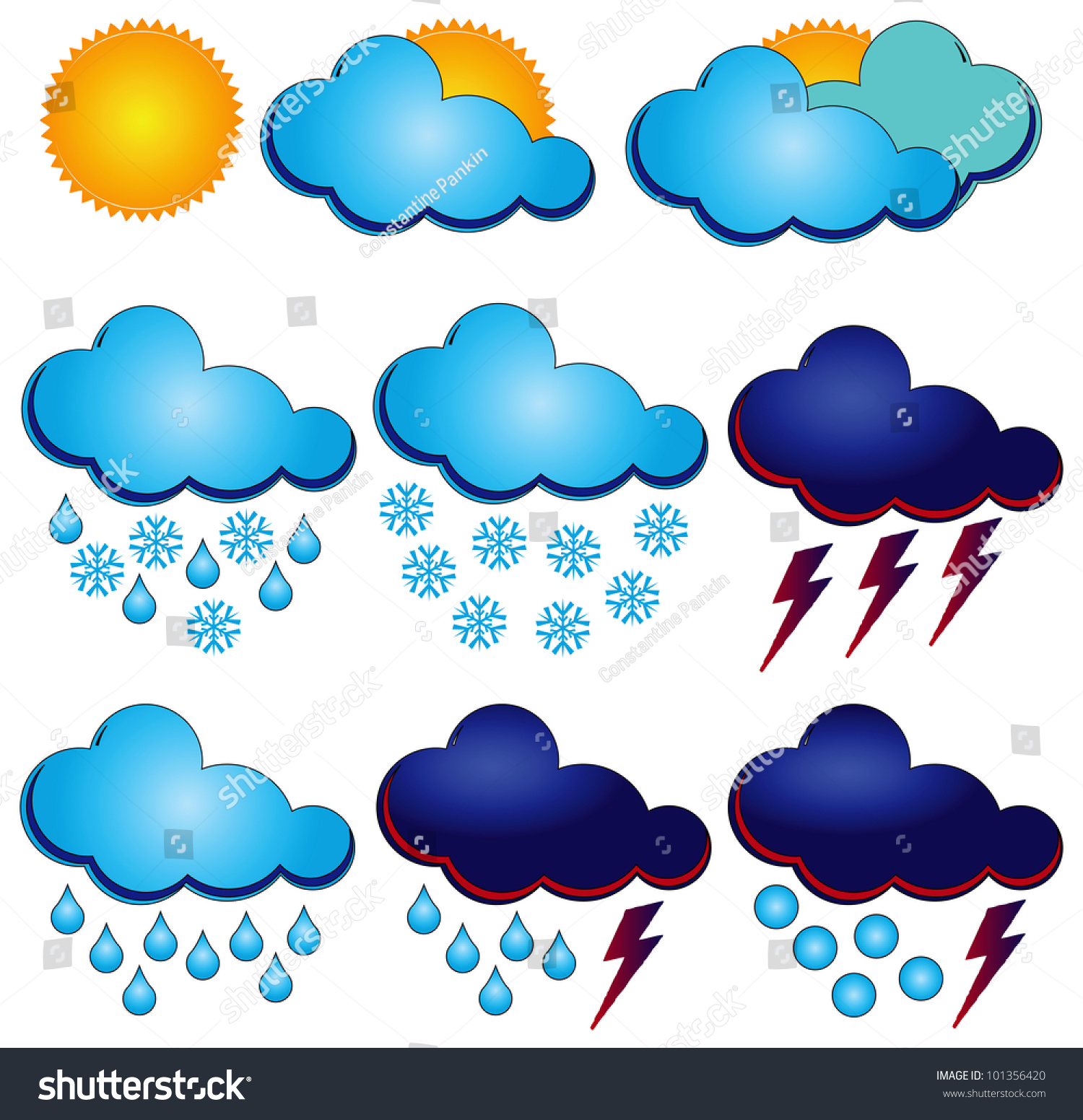 Synoptic Symbols Different Weather Conditions Vector Stock Vector