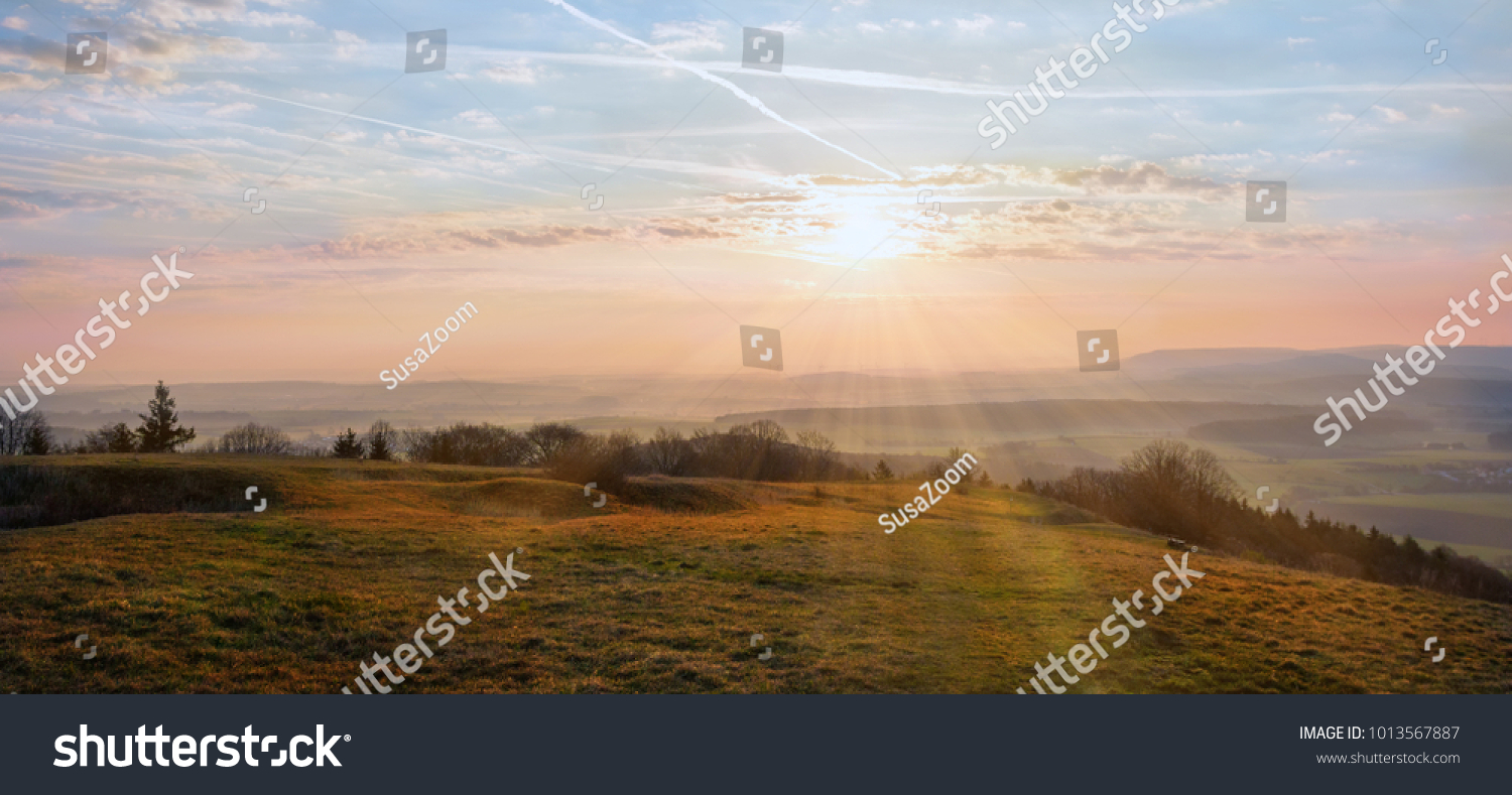 morning scenery hilly landscape franconia beautiful stock photo