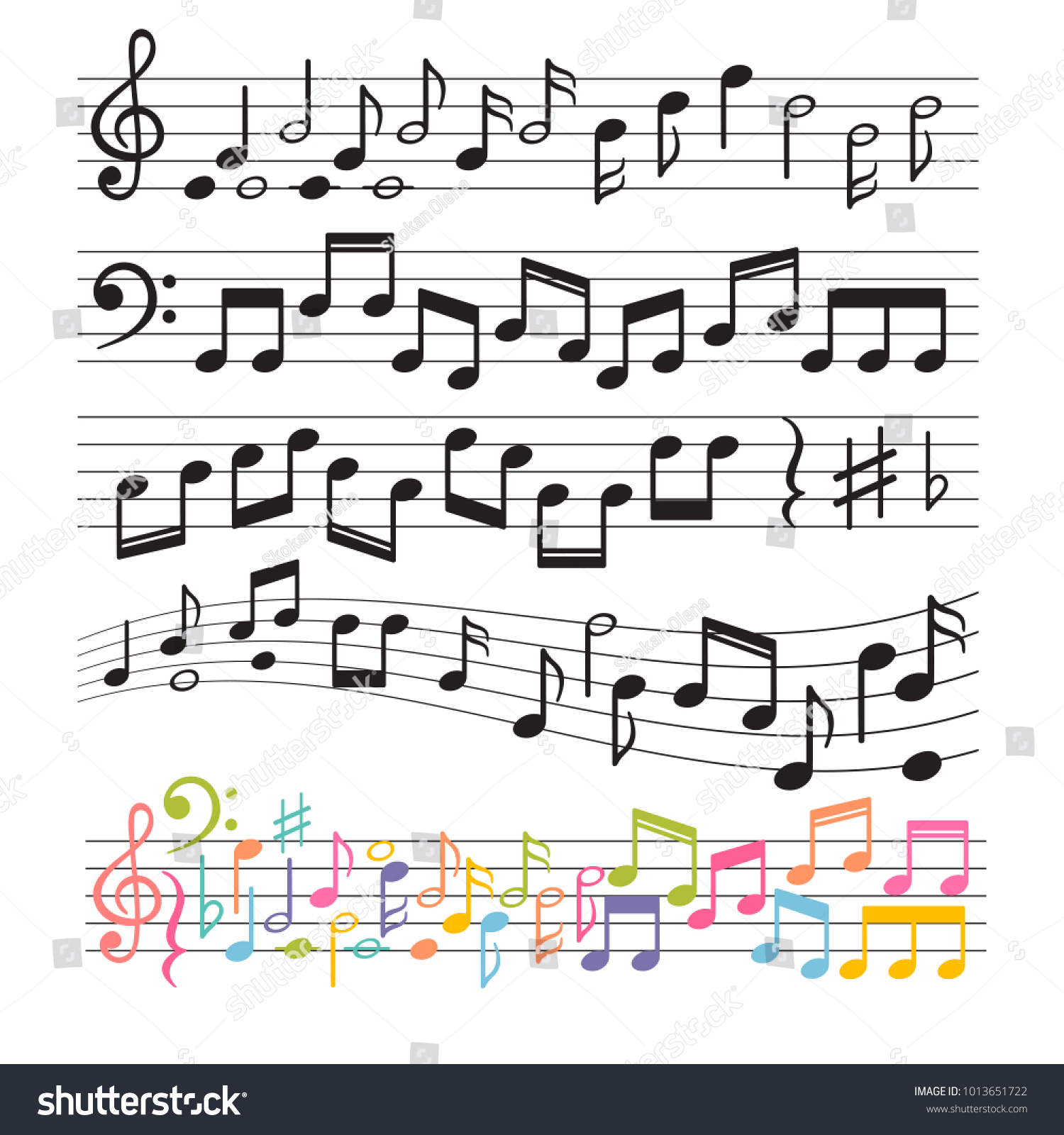 Set Of Hand Drawn Music Notes Music Design Elements Key Sign