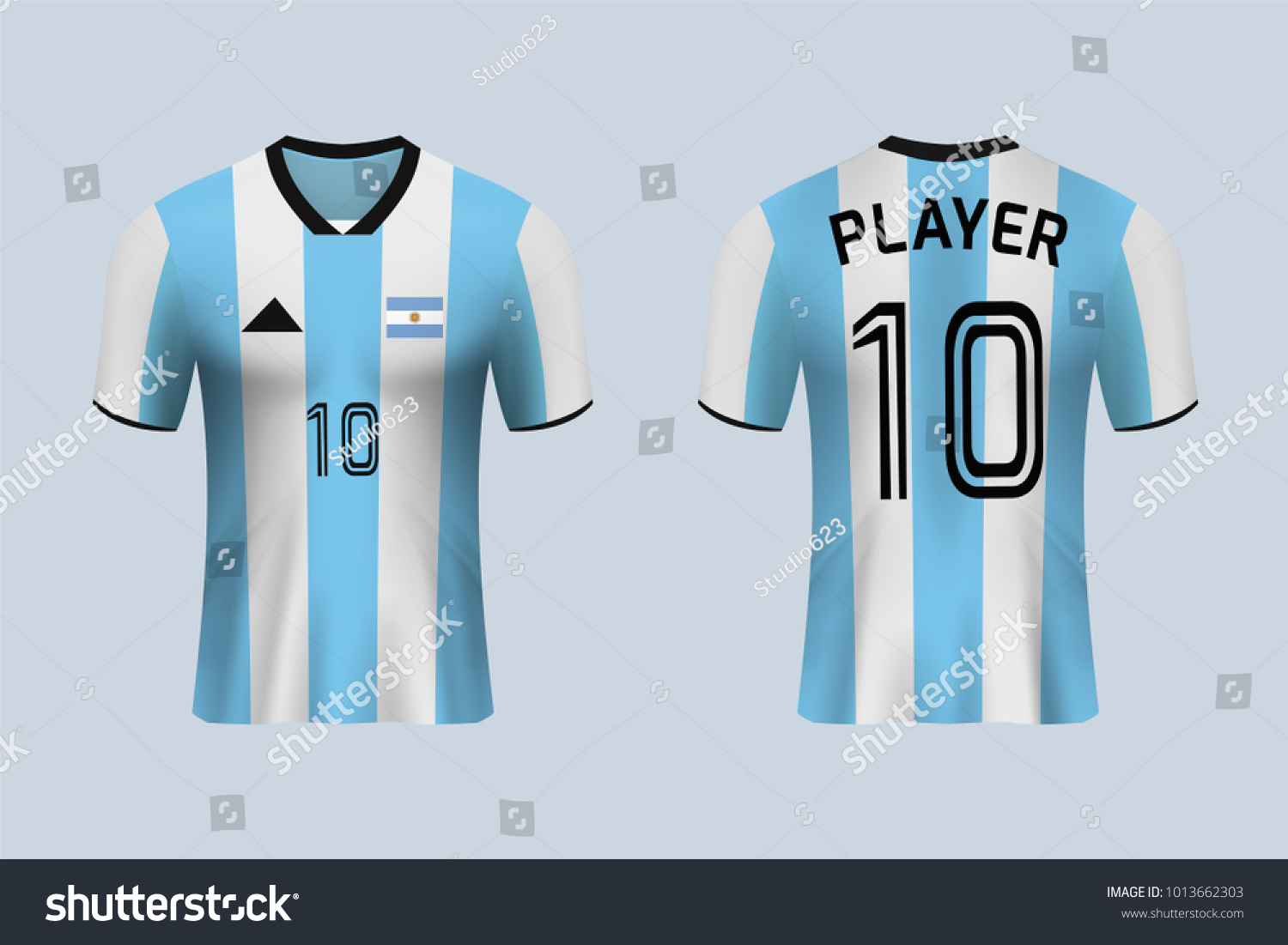 b62439ef58a 3D realistic of front and back view of soccer jersey shirt on shop backdrop.  Concept