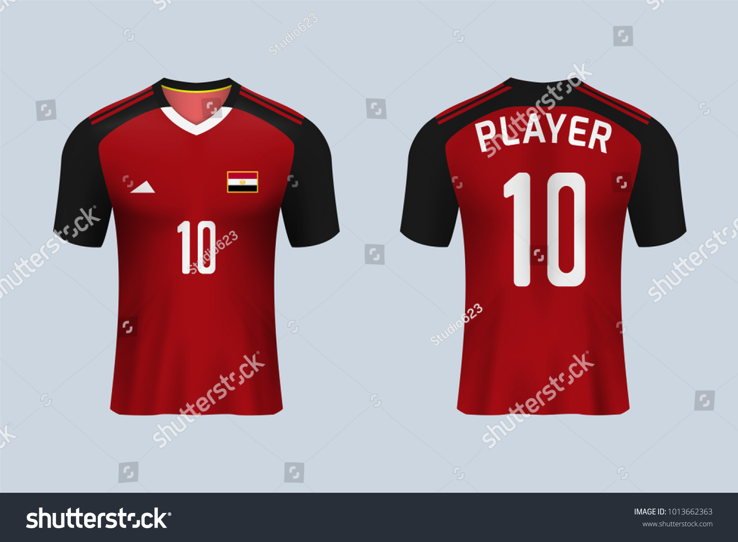 3D realistic of front and back view of soccer jersey shirt on shop  backdrop. Concept ce25052ad09bf