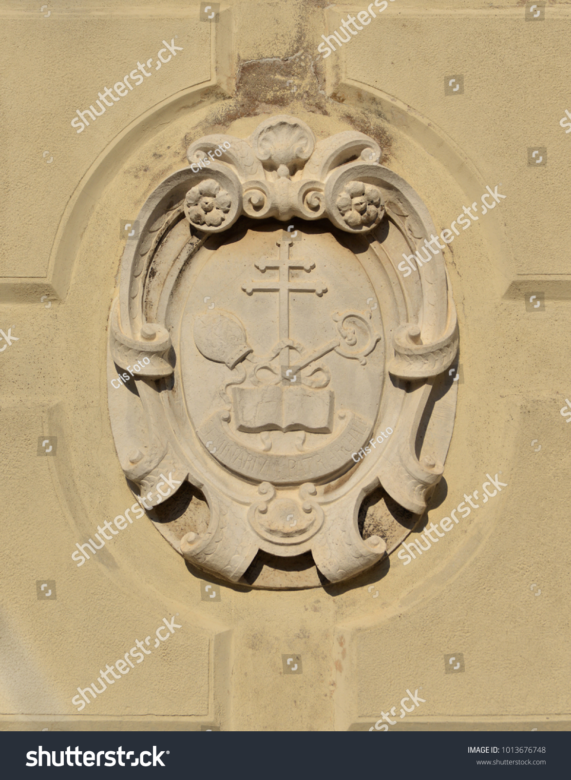 Cross Crosier And Mitre Christian Religious Symbols Old Relief On