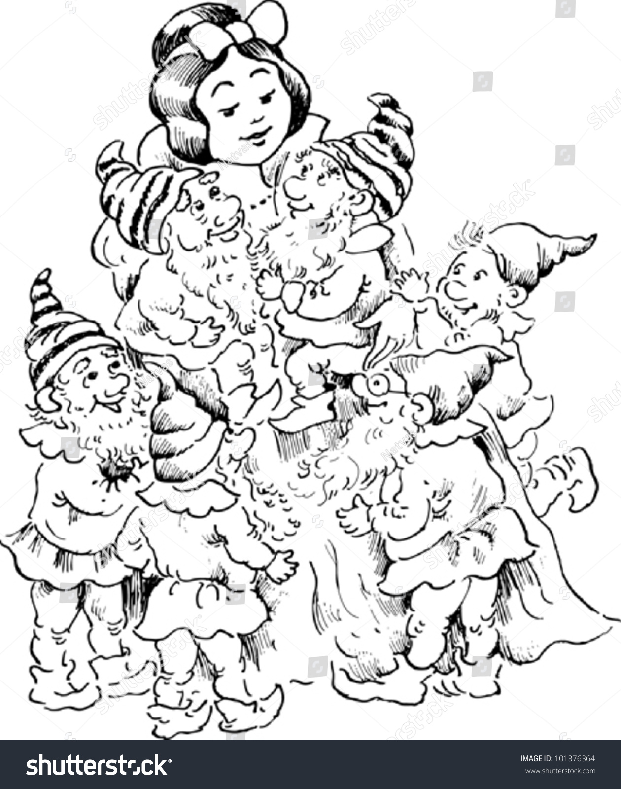 snow white seven dwarfs stock vector 101376364 shutterstock