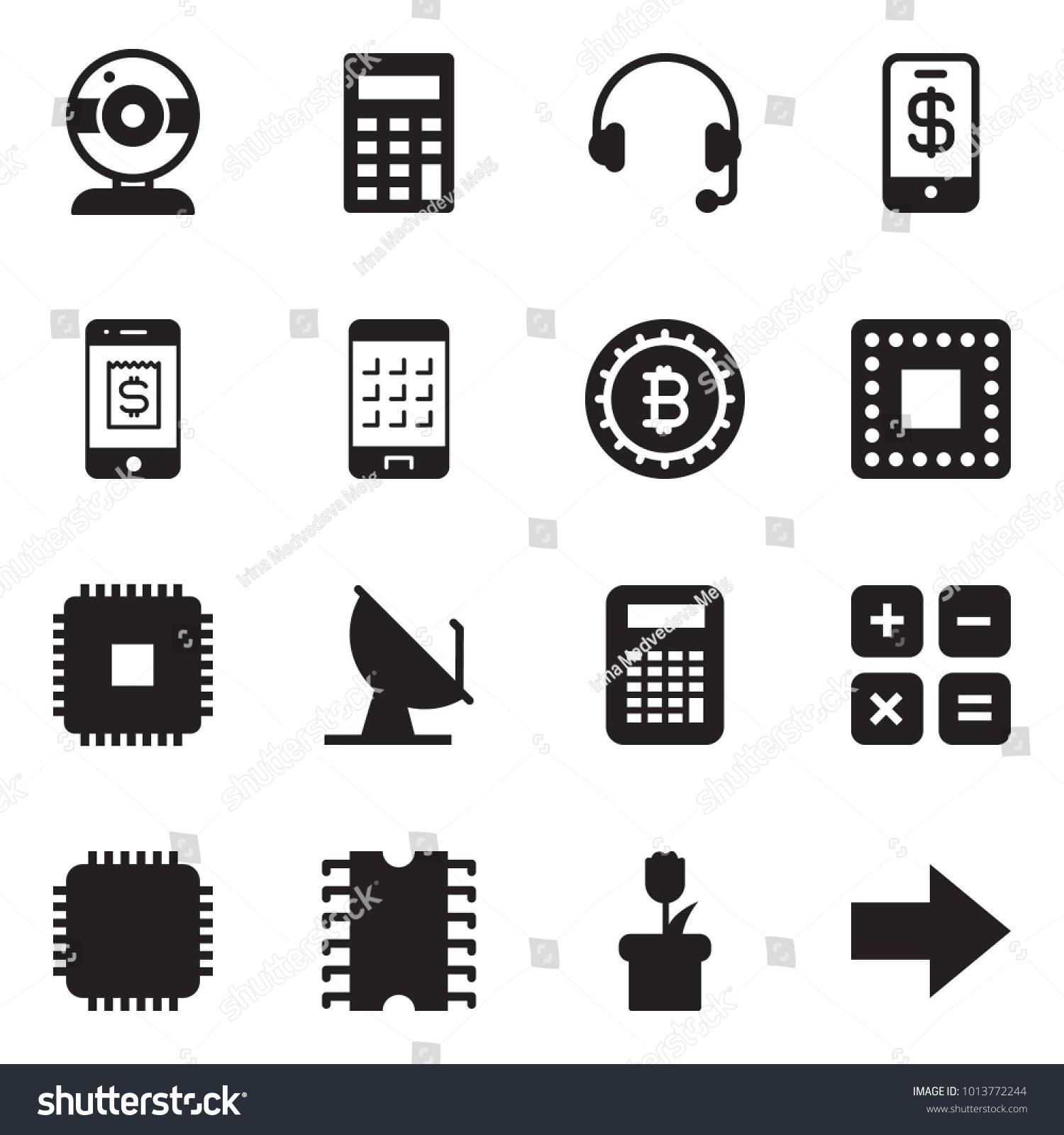 Solid black vector icon set web stock vector 1013772244 shutterstock solid black vector icon set web camera vector calculator headphones phone wallet buycottarizona