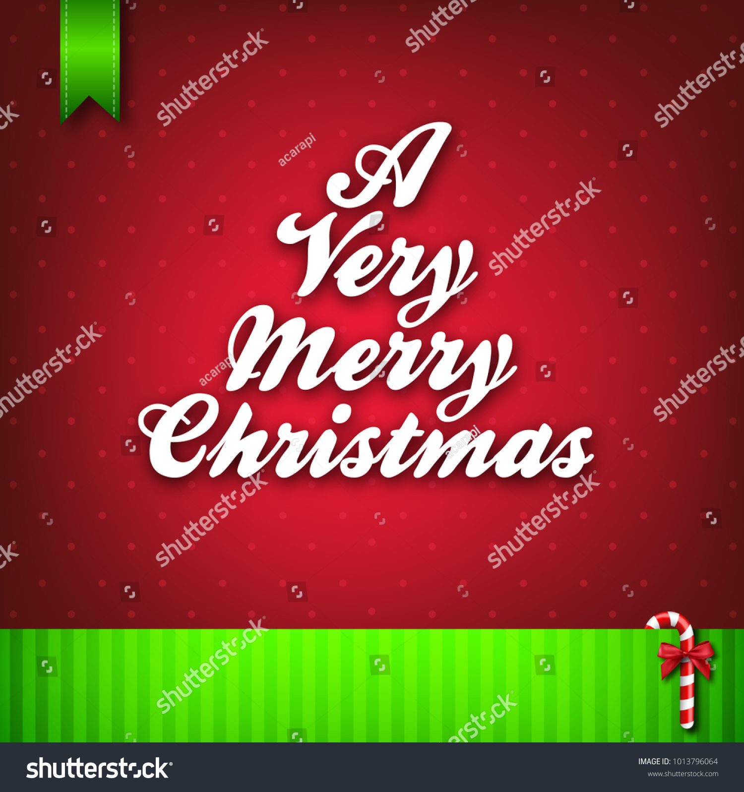 Very Merry Christmas Wording On Red Stock Illustration 1013796064