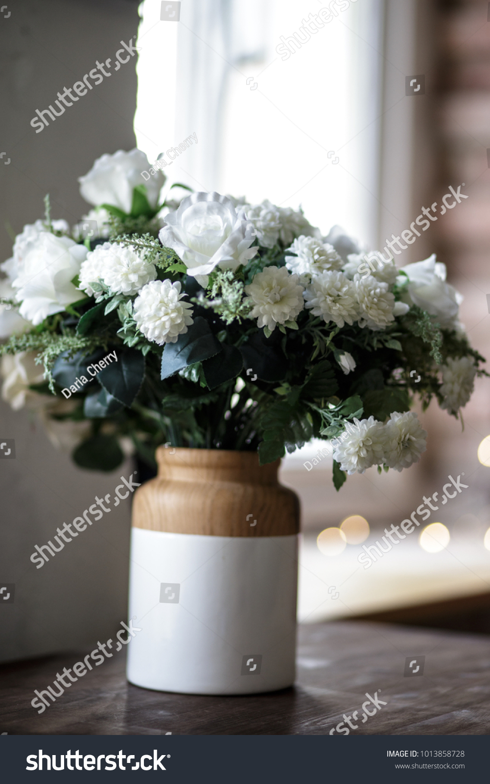 Vase Fresh Bouquet Simple White Flowers Stock Photo Edit Now