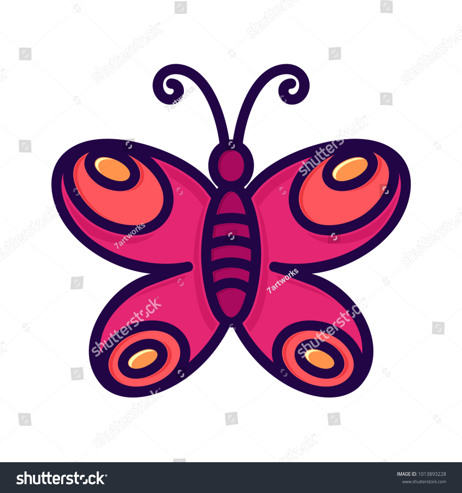 Cute Butterfly Pink Red Purple Drawing Stock Vector Royalty Free Orange Themed Circuit Board Clipart Illustration Lineart Isolated Design