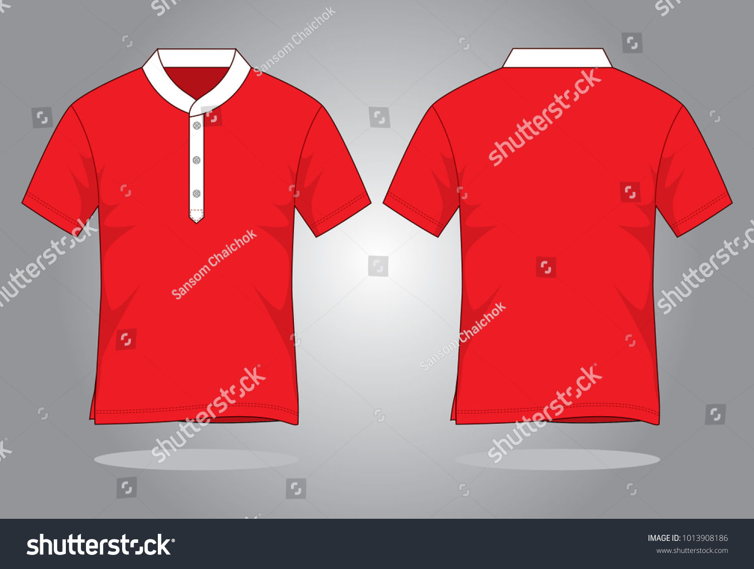 Mens Red Vector Polo Shirt Template Stand Up Collar