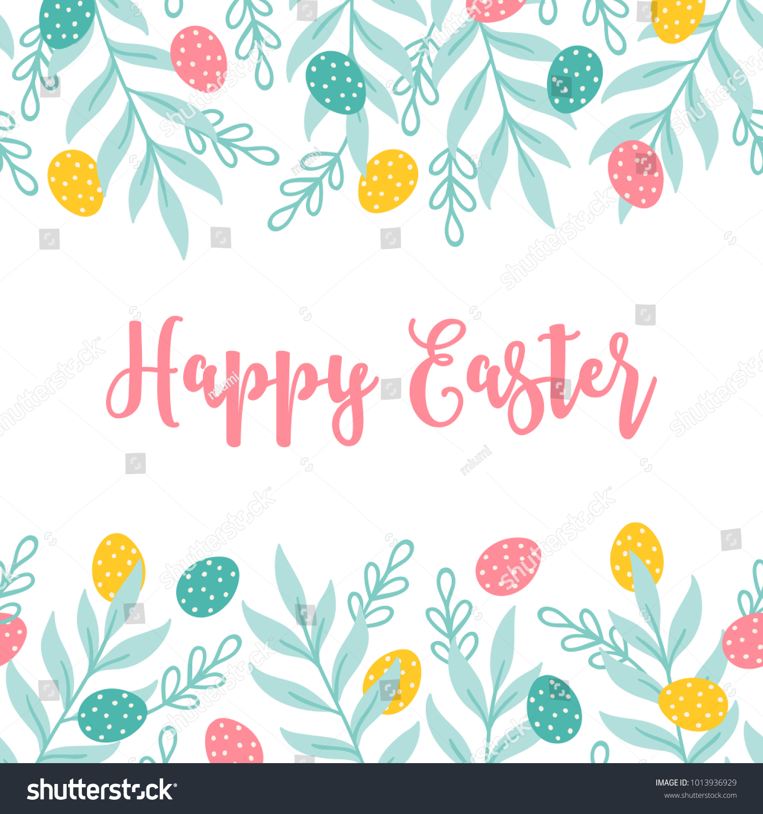 Easter Greeting Card Seamless Floral Border Stock Vector Royalty