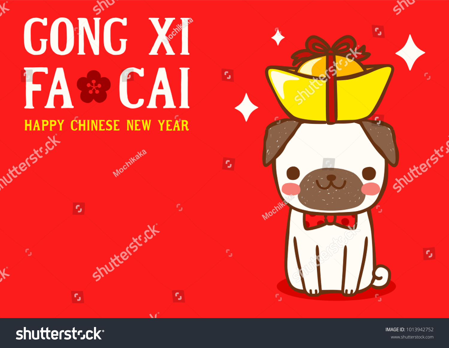 Happy chinese new year cute cartoon stock vector royalty free happy chinese new year with cute cartoon pug and gong xi fa cai greeting m4hsunfo