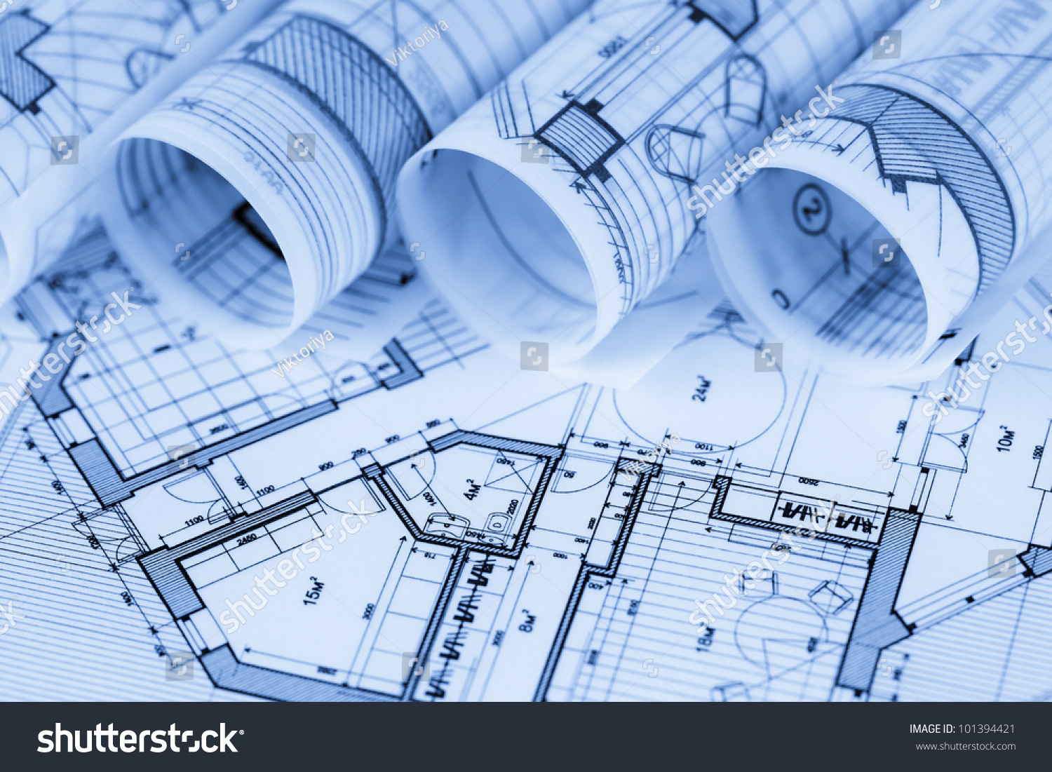 Rolls Architecture Blueprints House Plans Stock Photo