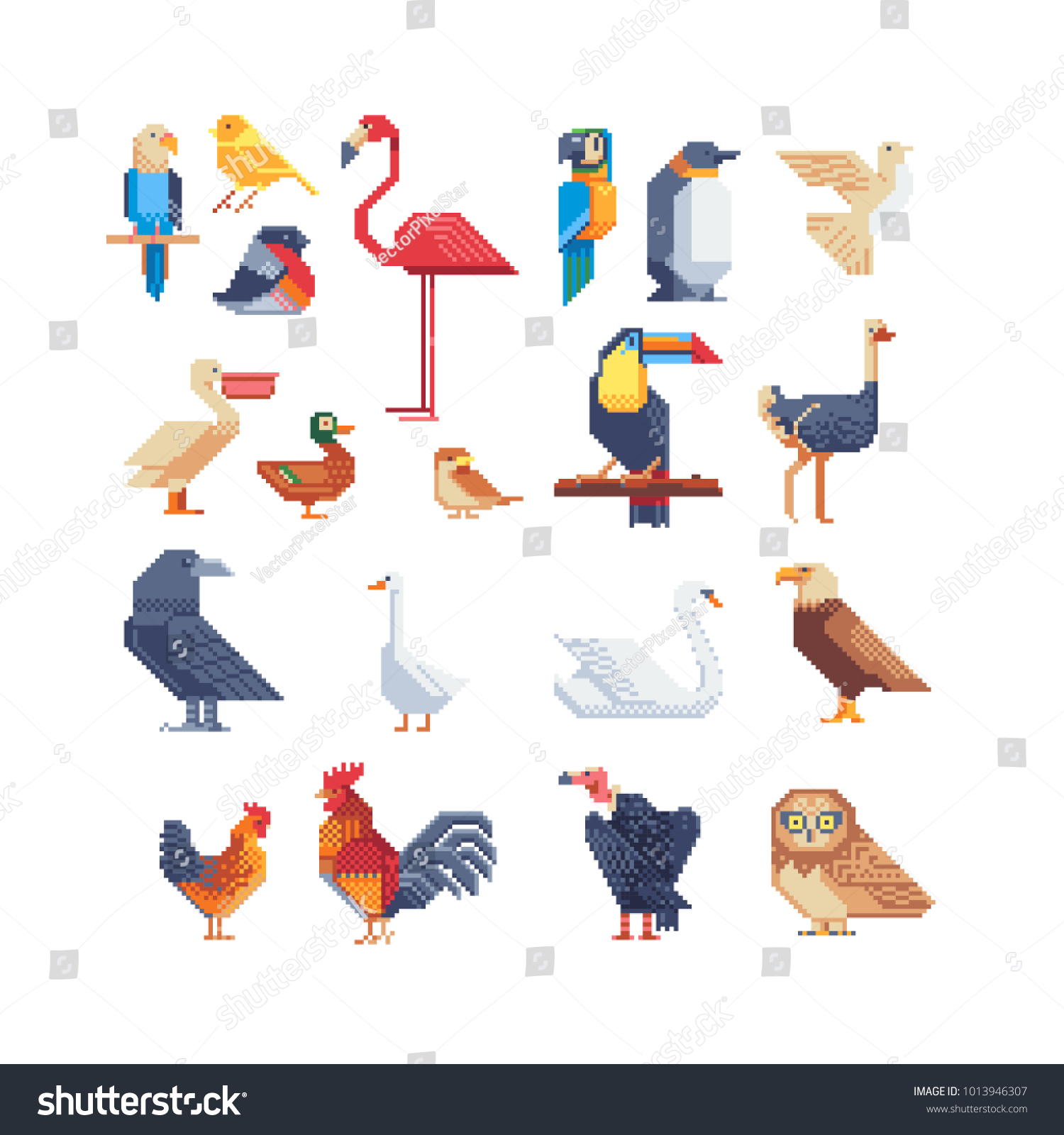 bird icons set pixel art design stock vector royalty free