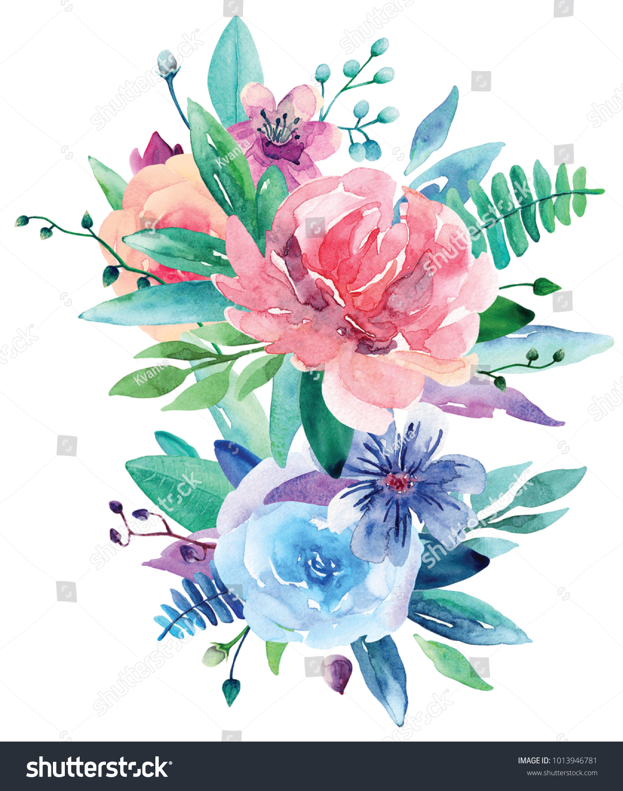 Watercolor floral bouquet clip art pink stock illustration watercolor floral bouquet clip art pink and blue flowers illustration izmirmasajfo