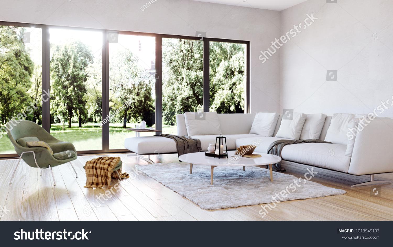 Modern Interior Design Living Room Garden Stock Illustration ...