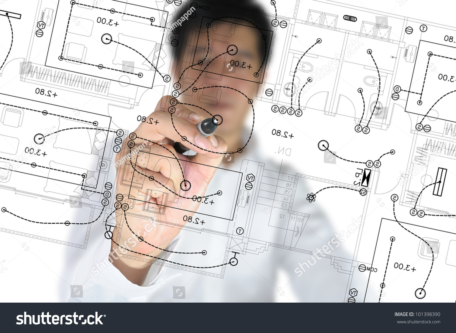 Hand Business Man Draw Architect Home Stock Photo 101398390 ...